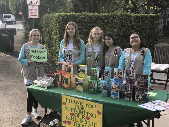 Cheerful Girl Scouts Selling Cookies! T-Shirt Photo