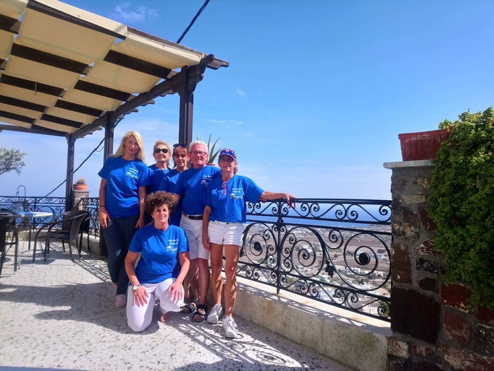 Palm Beach American Angels At Morning Star Houses Santorini T-Shirt Photo