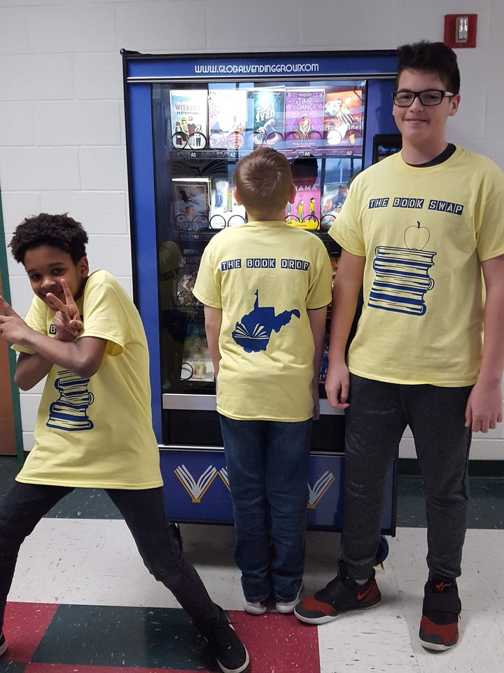 Rockin' Our New Shirts With Our New Book Vending Machine (The Book Drop) T-Shirt Photo