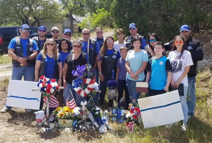 Thin Blue Line Memorial In Texas T-Shirt Photo