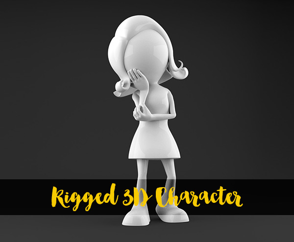Blender Character Modeling And Rigging : D rigged woman stick character model for blender
