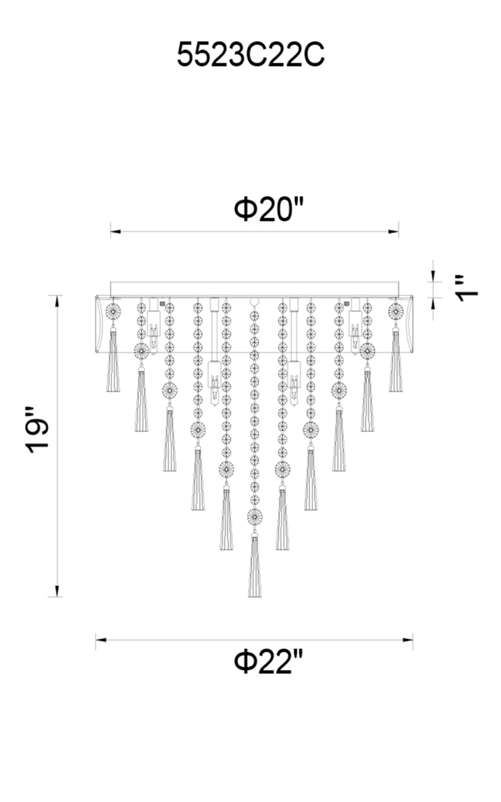 CWI Lighting Franca 8 Light Drum Shade Flush Mount With Chrome Model: 5523C22C (BLACK) Line Drawing