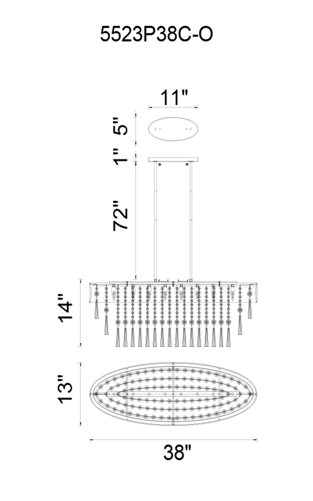 CWI Lighting Franca 8 Light Drum Shade Chandelier With Chrome Model: 5523P38C-O (BLACK) Line Drawing