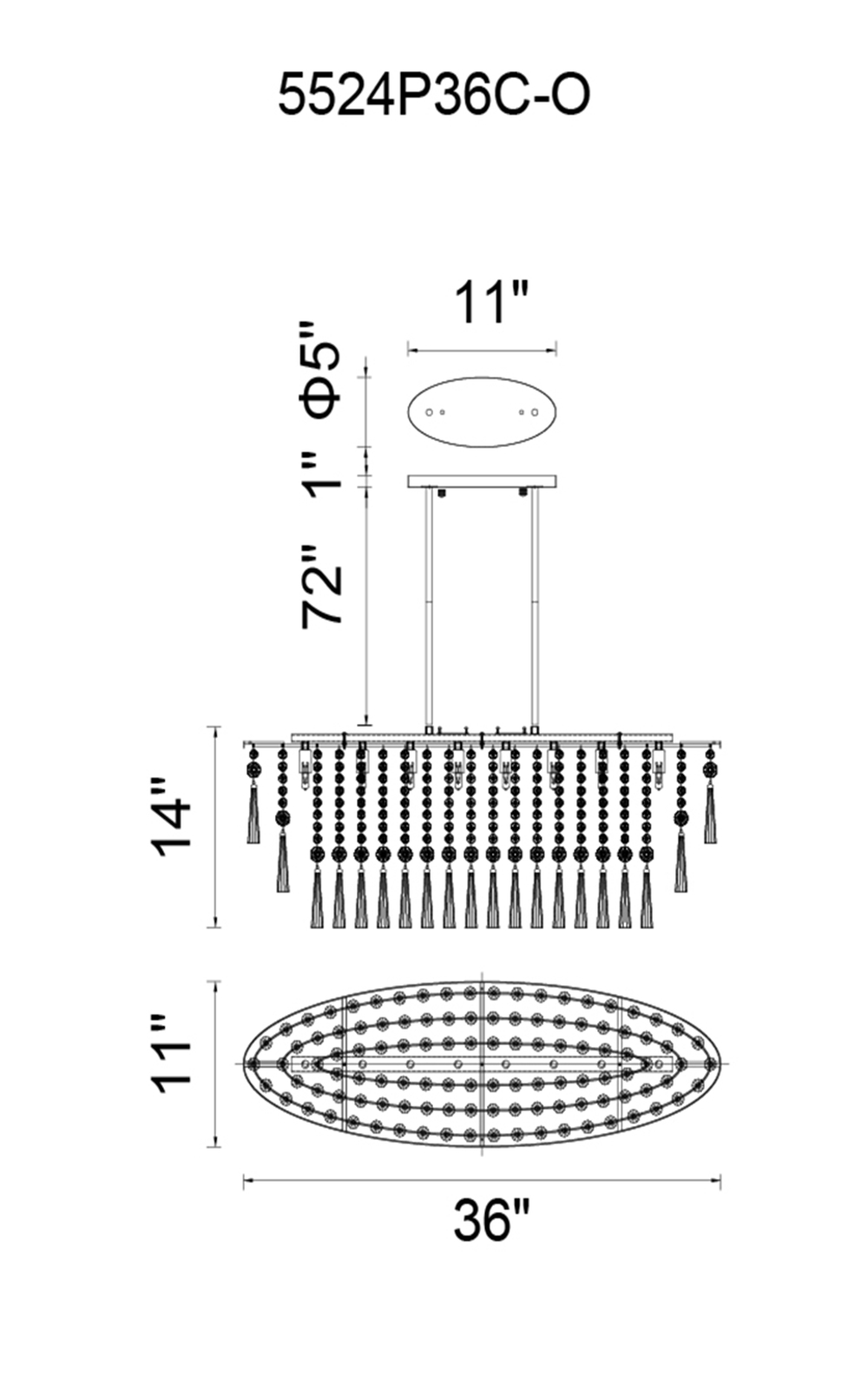 CWI Lighting Blissful 8 Light Down Chandelier With Chrome Finish Model: 5524P36C-O Line Drawing