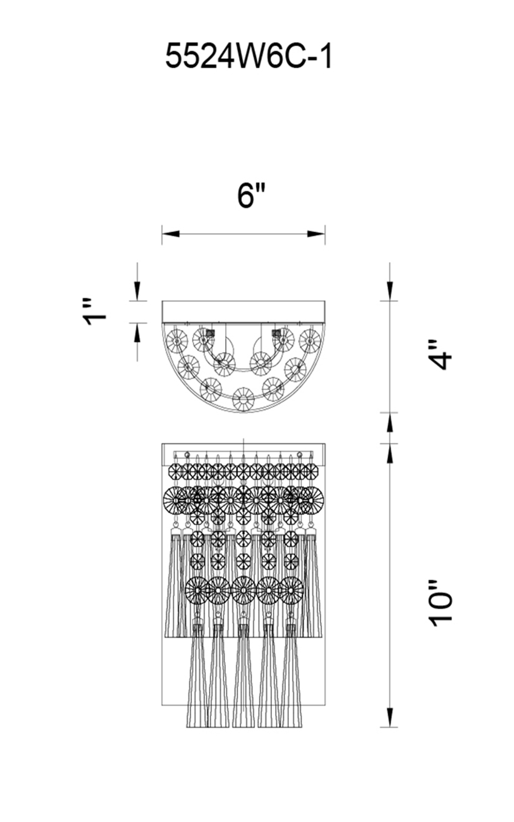 CWI Lighting Blissful 1 Light Bathroom Sconce With Chrome Finish Model: 5524W6C-1 Line Drawing