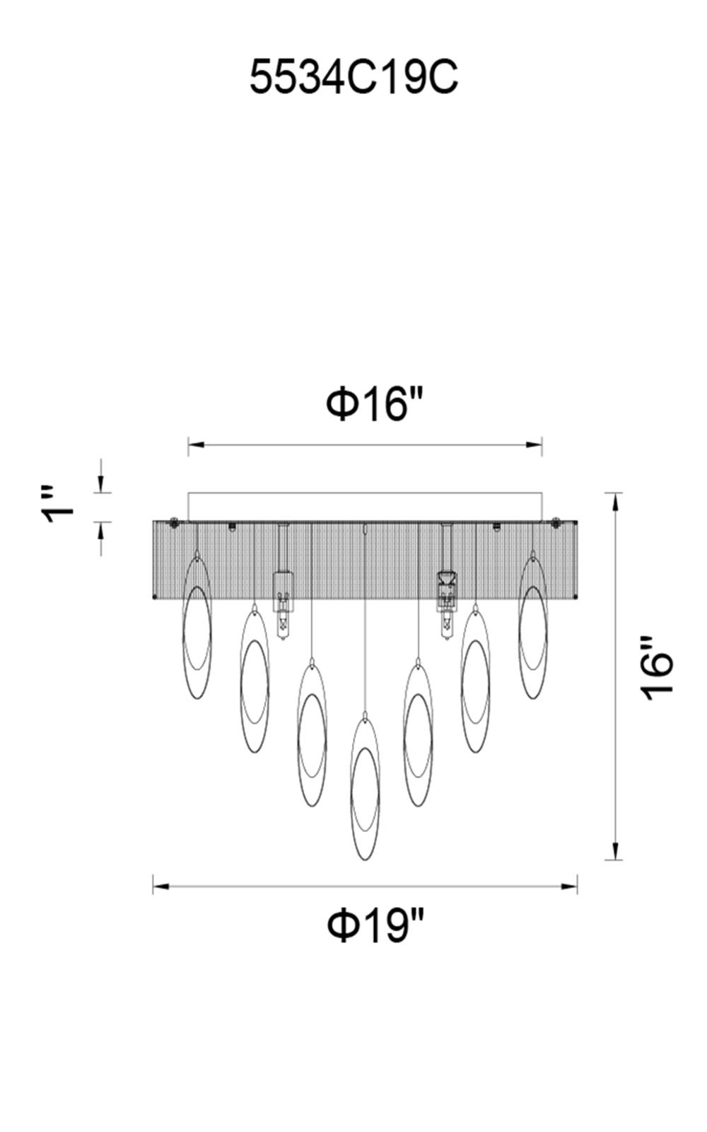CWI Lighting Excel 6 Light Drum Shade Flush Mount With Chrome Model: 5534C19C BLACK Line Drawing