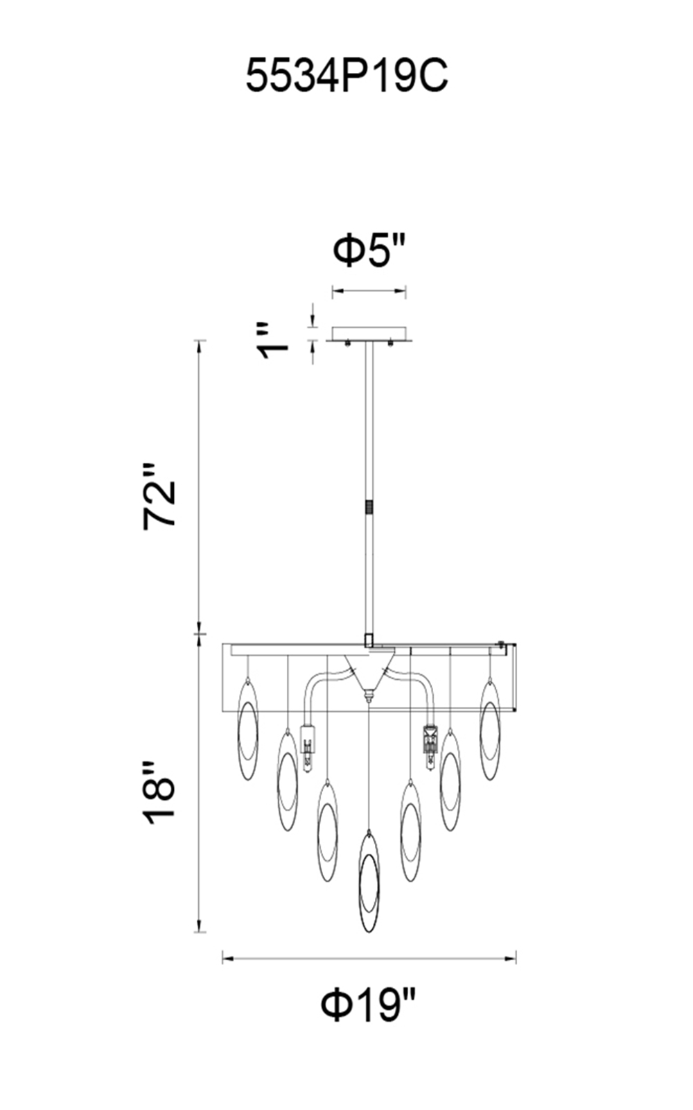 CWI Lighting Excel 6 Light Drum Shade Chandelier With Chrome Model: 5534P19C WHITE Line Drawing