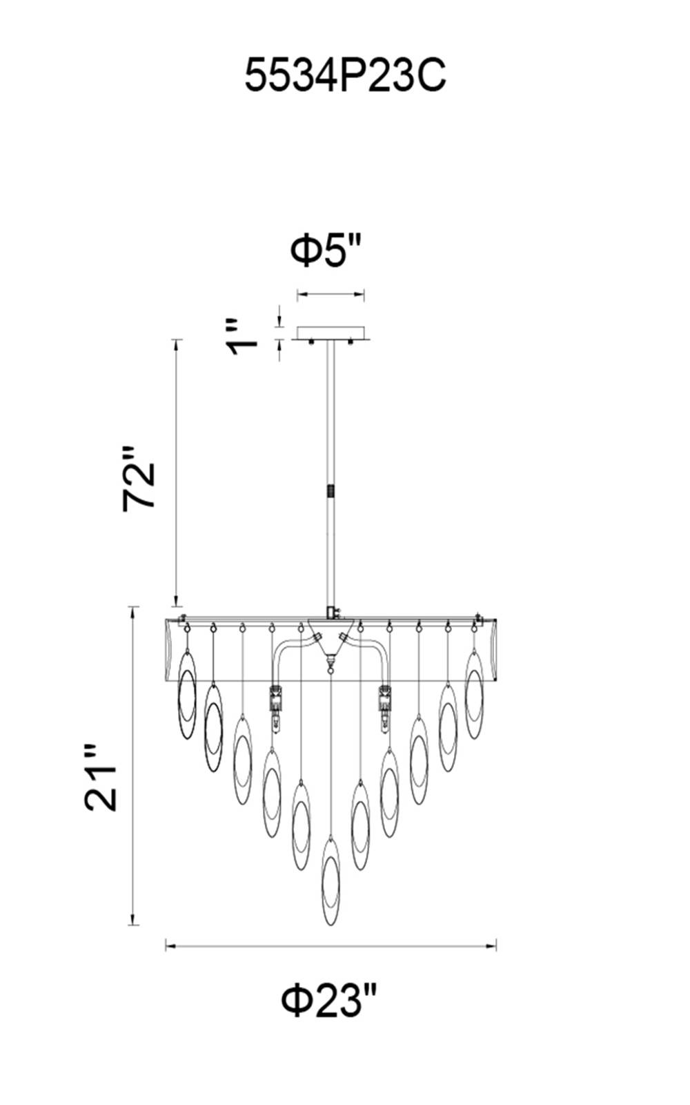 CWI Lighting Excel 8 Light Drum Shade Chandelier With Chrome Model: 5534P23C BLACK Line Drawing