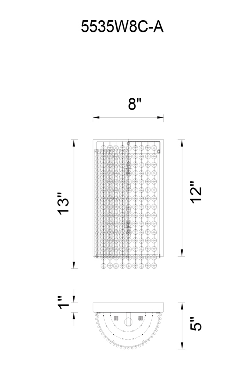 CWI Lighting Claire 2 Light Wall Sconce With Chrome Finish Model: 5535W8C-A Line Drawing