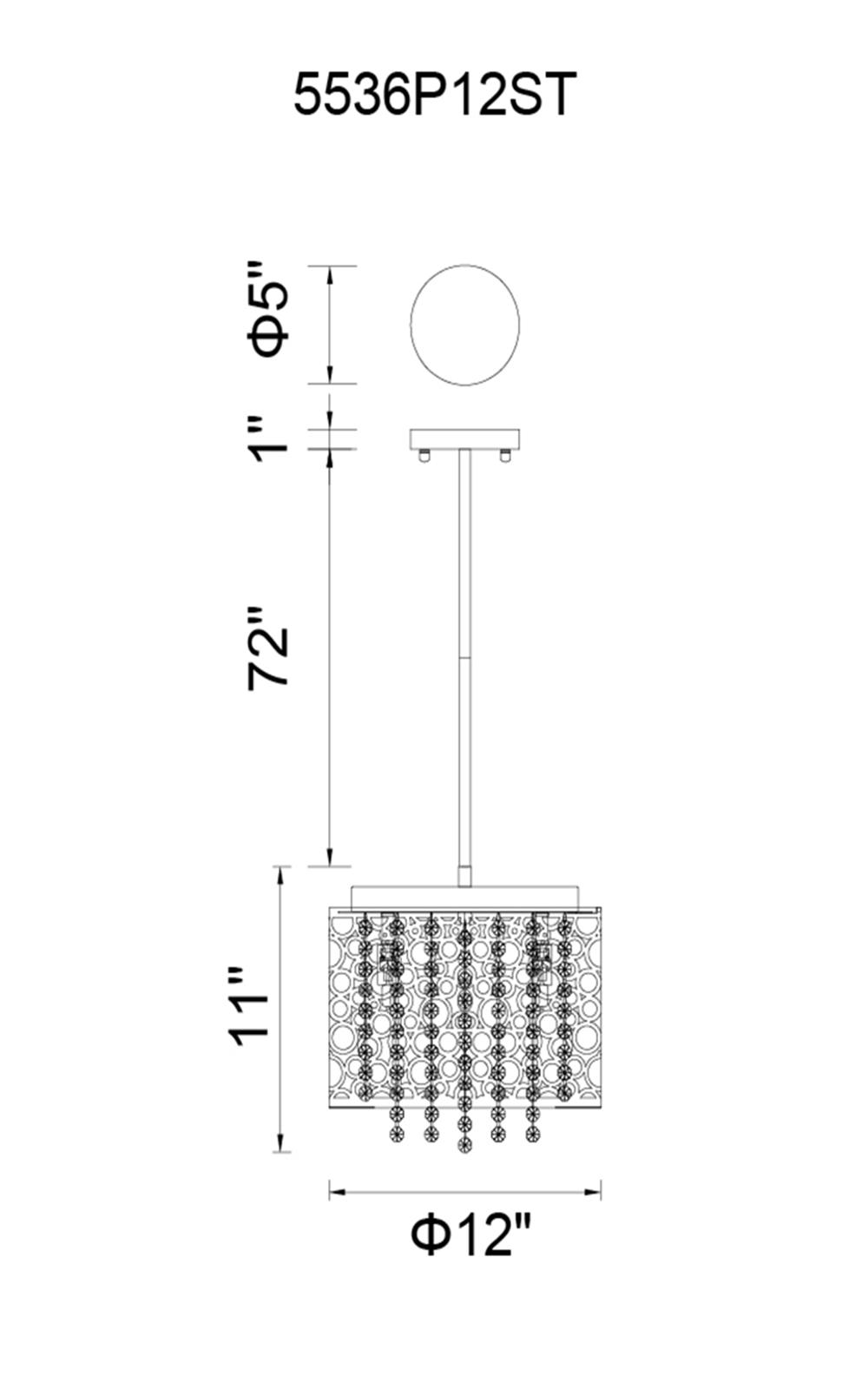 CWI Lighting Bubbles 4 Light Drum Shade Mini Pendant With Chrome Model: 5536P12ST Line Drawing