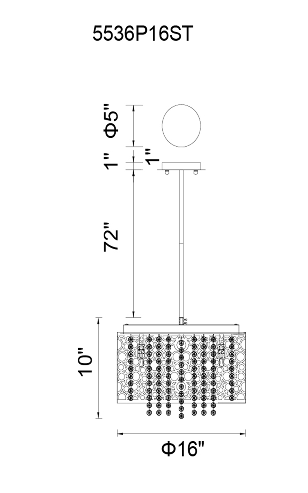 CWI Lighting Bubbles 6 Light Drum Shade Chandelier With Chrome Model: 5536P16ST Line Drawing