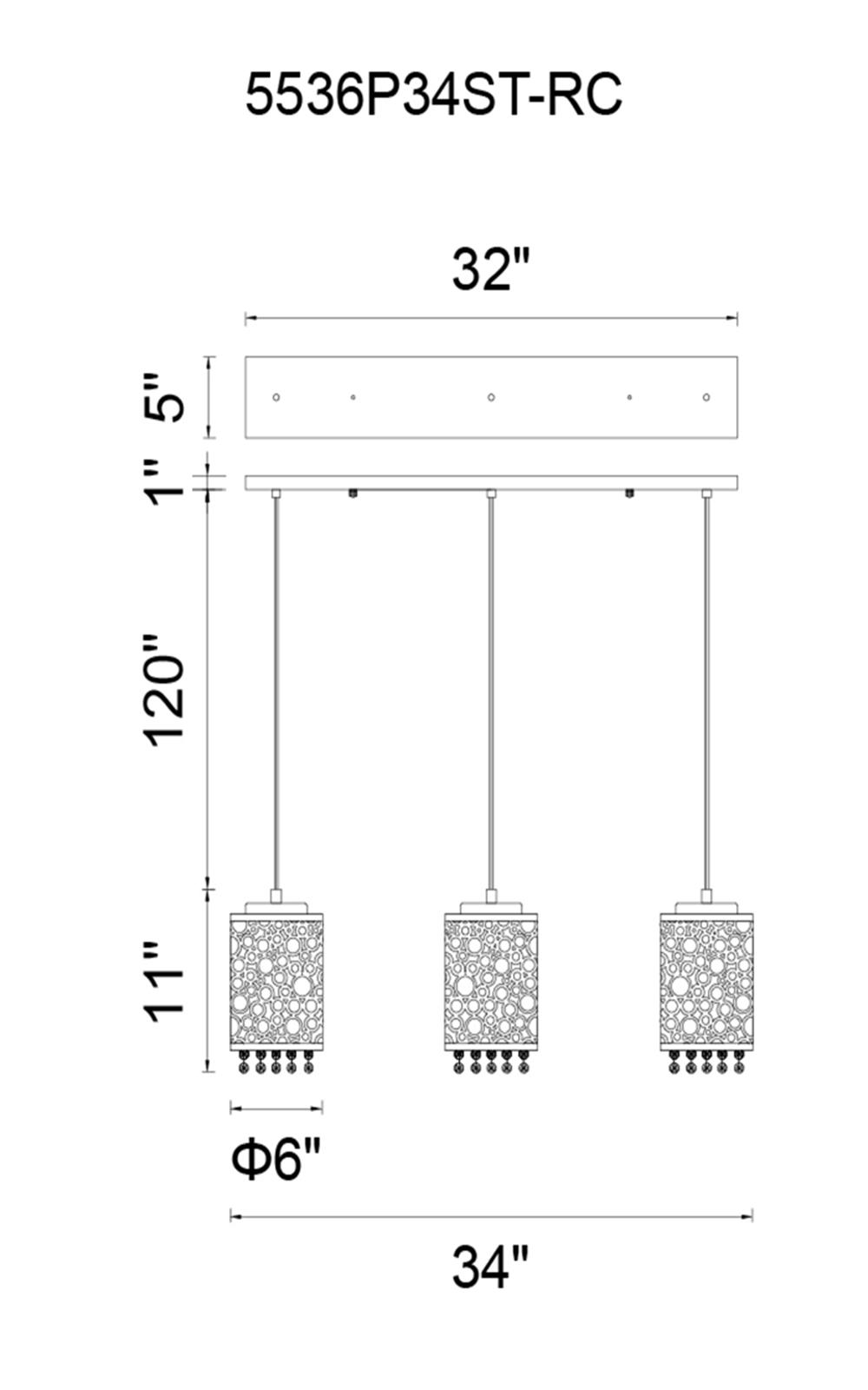 CWI Lighting Bubbles 3 Light Multi Light Pendant With Chrome Model: 5536P34ST-RC Line Drawing