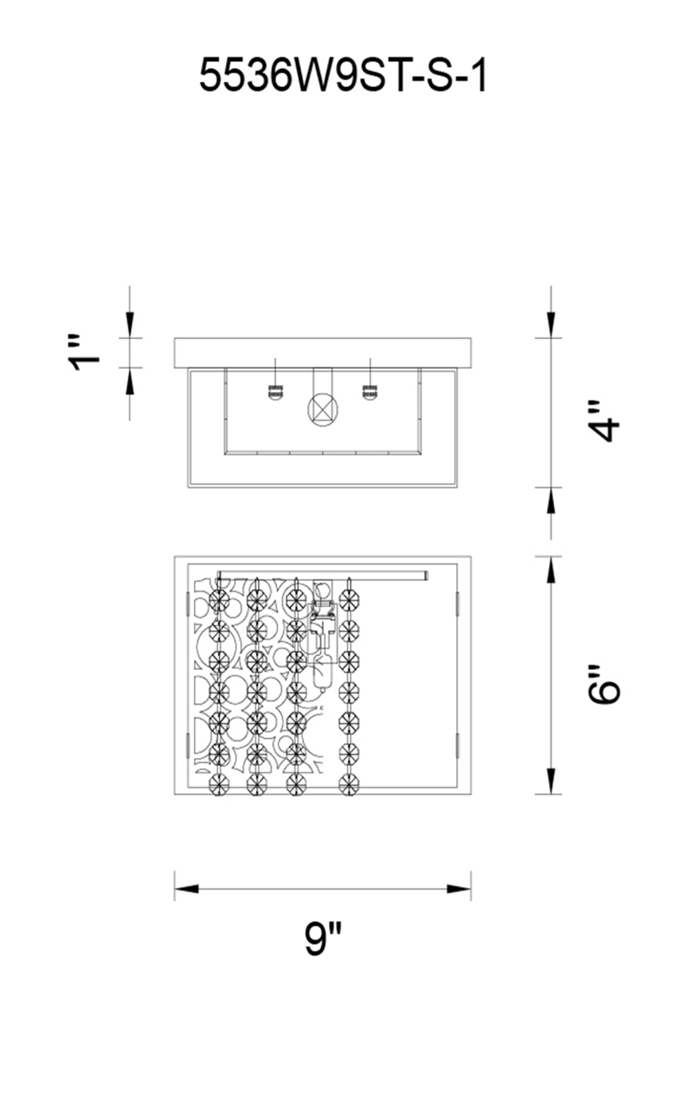 CWI Lighting Bubbles 1 Light Bathroom Sconce With Chrome Finish Model: 5536W9ST-S-1 Line Drawing