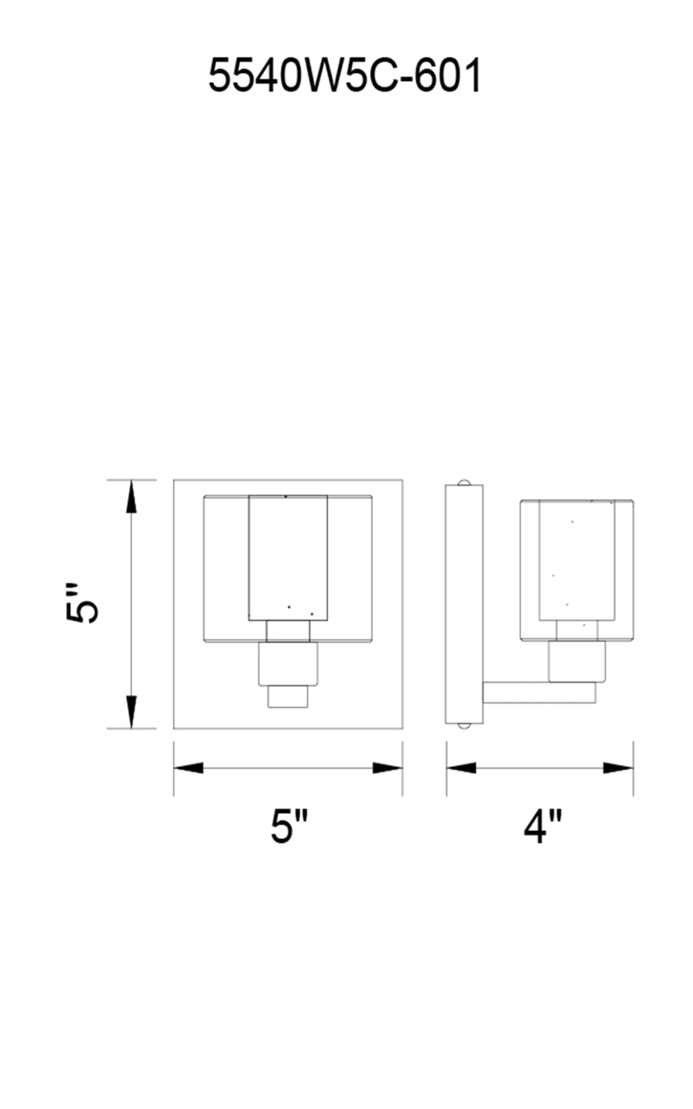 CWI Lighting Tina 1 Light Wall Sconce With Chrome Finish Model: 5540W5C-601 Line Drawing