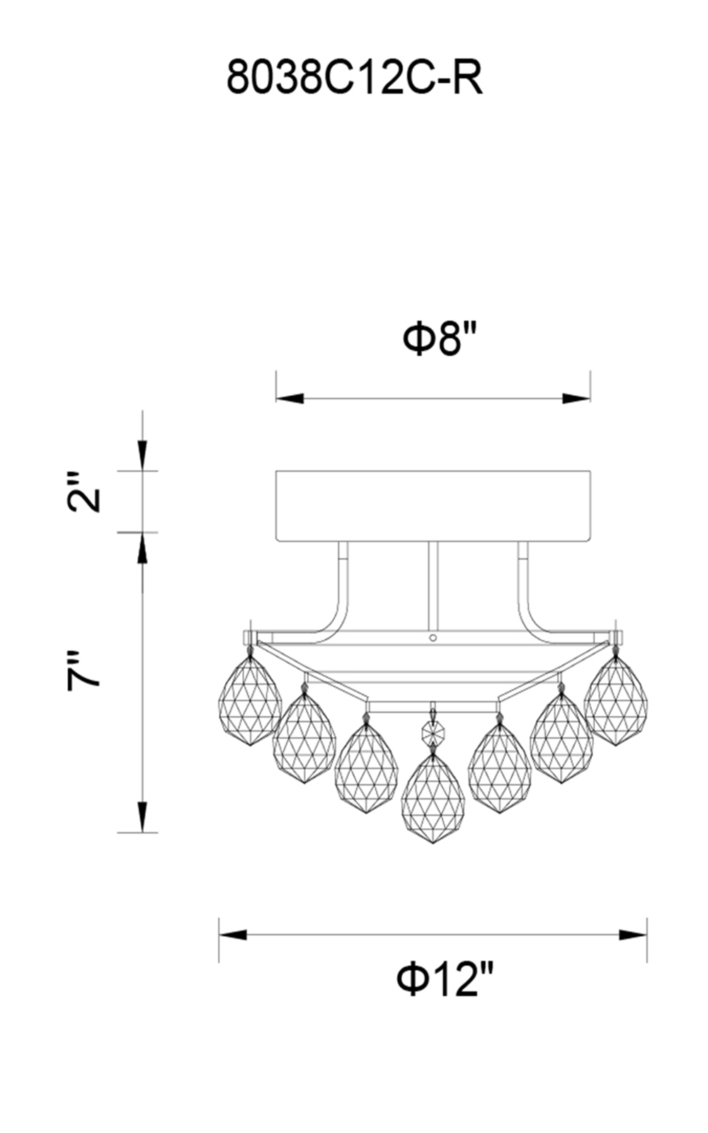 CWI Lighting Queen 3 Light Flush Mount With Chrome Finish Model: 8038C12C-R Line Drawing