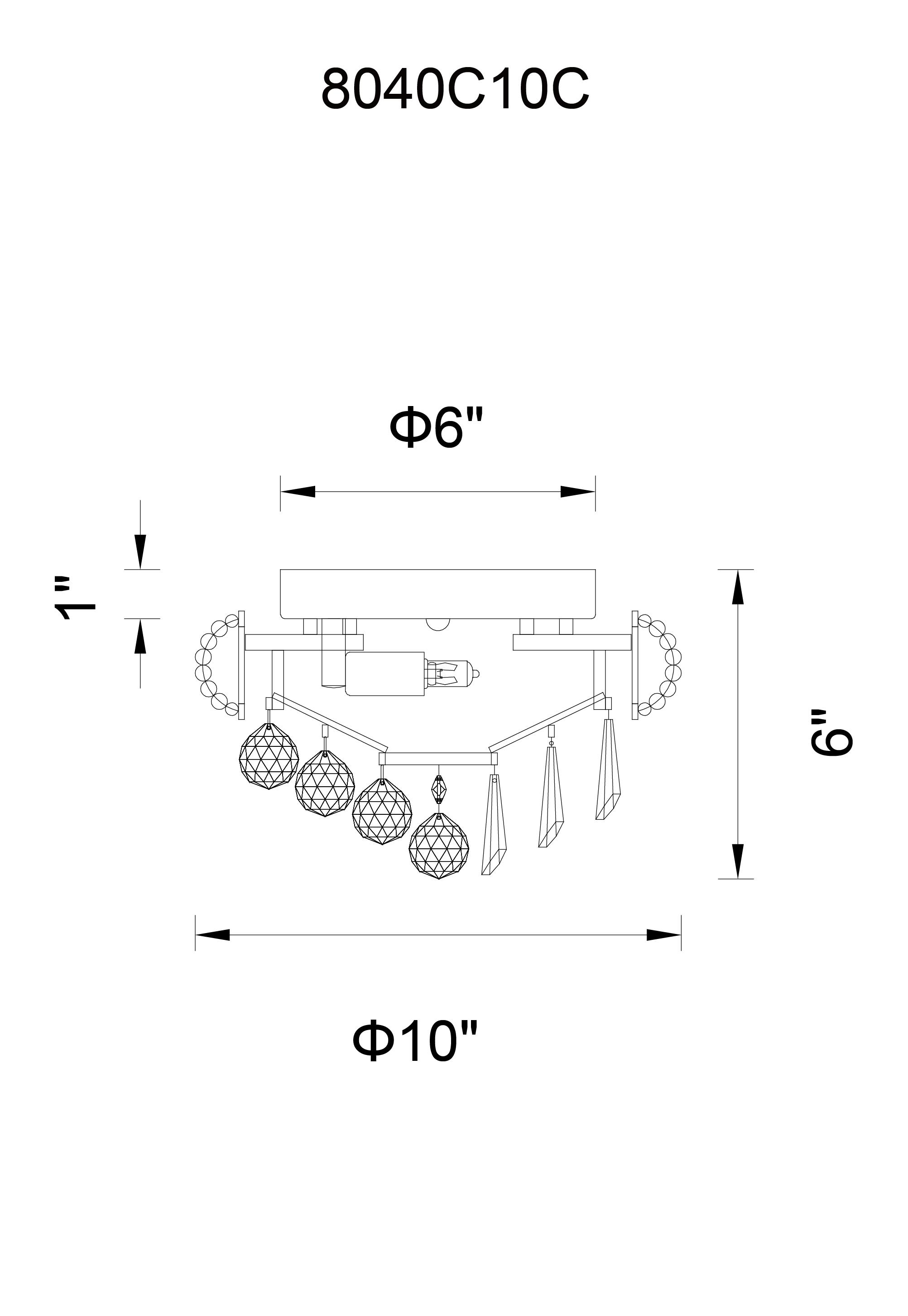 CWI Lighting Kingdom 2 Light Flush Mount With Chrome Finish Model: 8040C10C Line Drawing