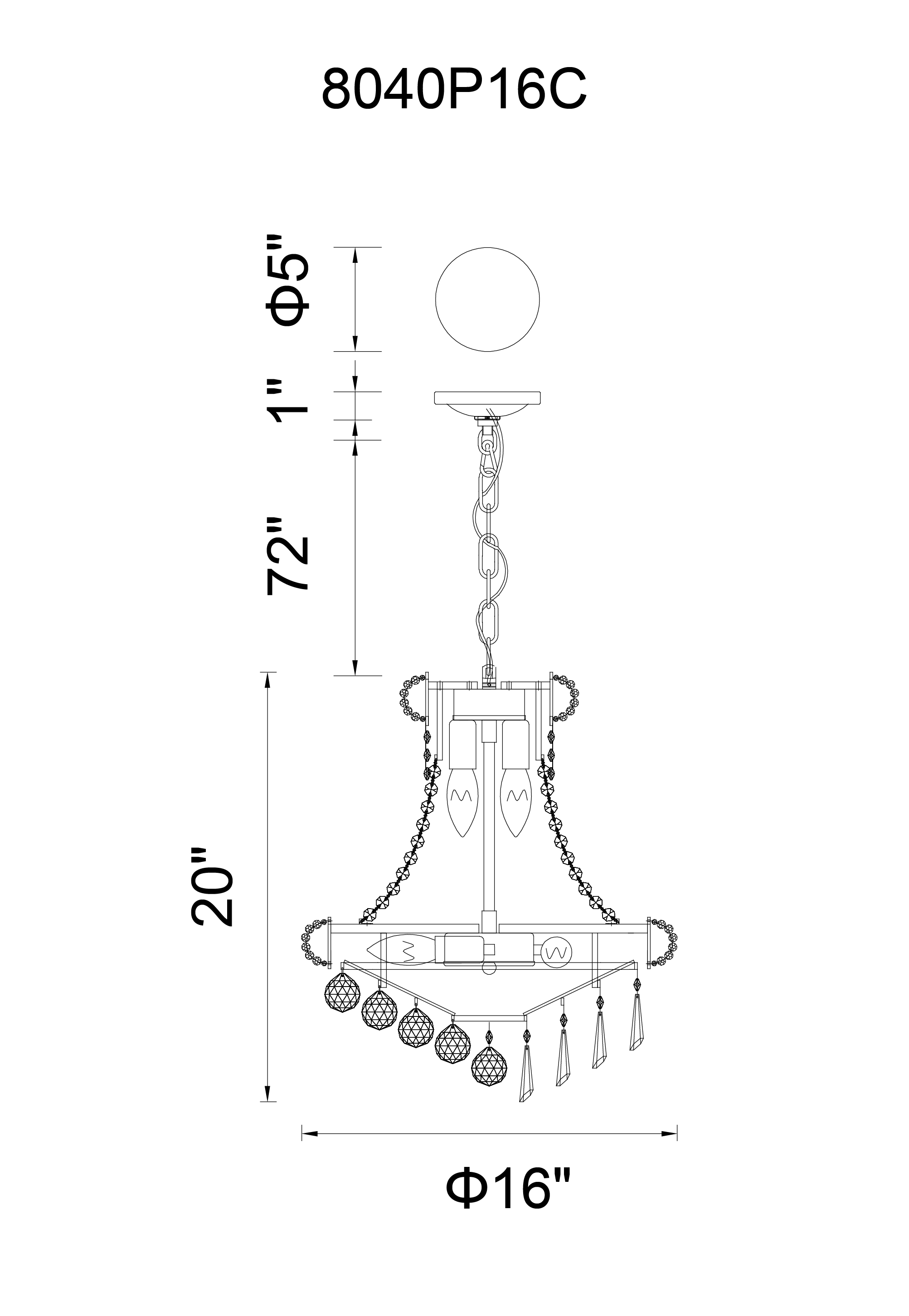 CWI Lighting Kingdom 6 Light Down Chandelier With Chrome Finish Model: 8040P16C Line Drawing