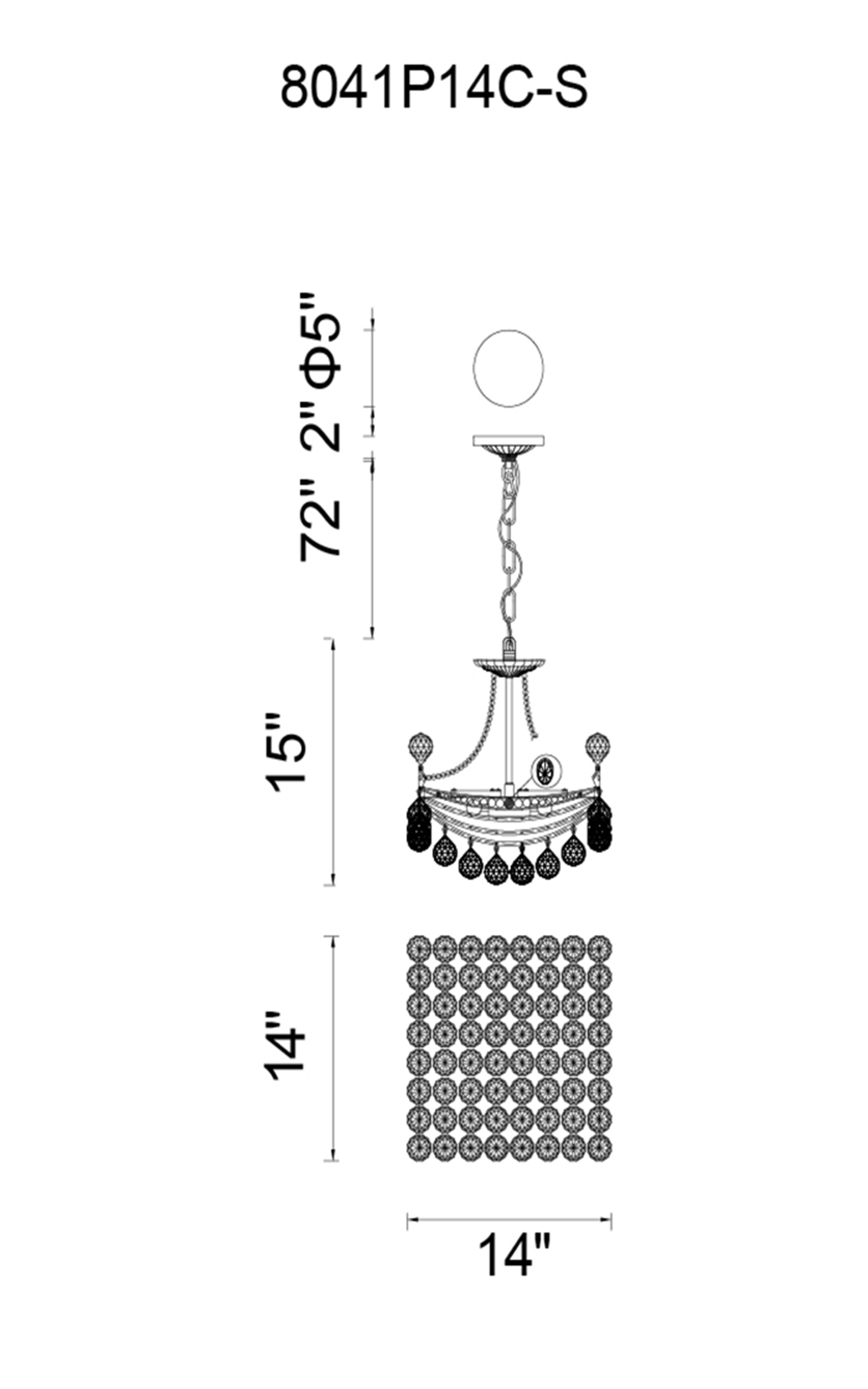CWI Lighting Jasmine 4 Light Chandelier With Chrome Finish Model: 8041P14C-S Line Drawing
