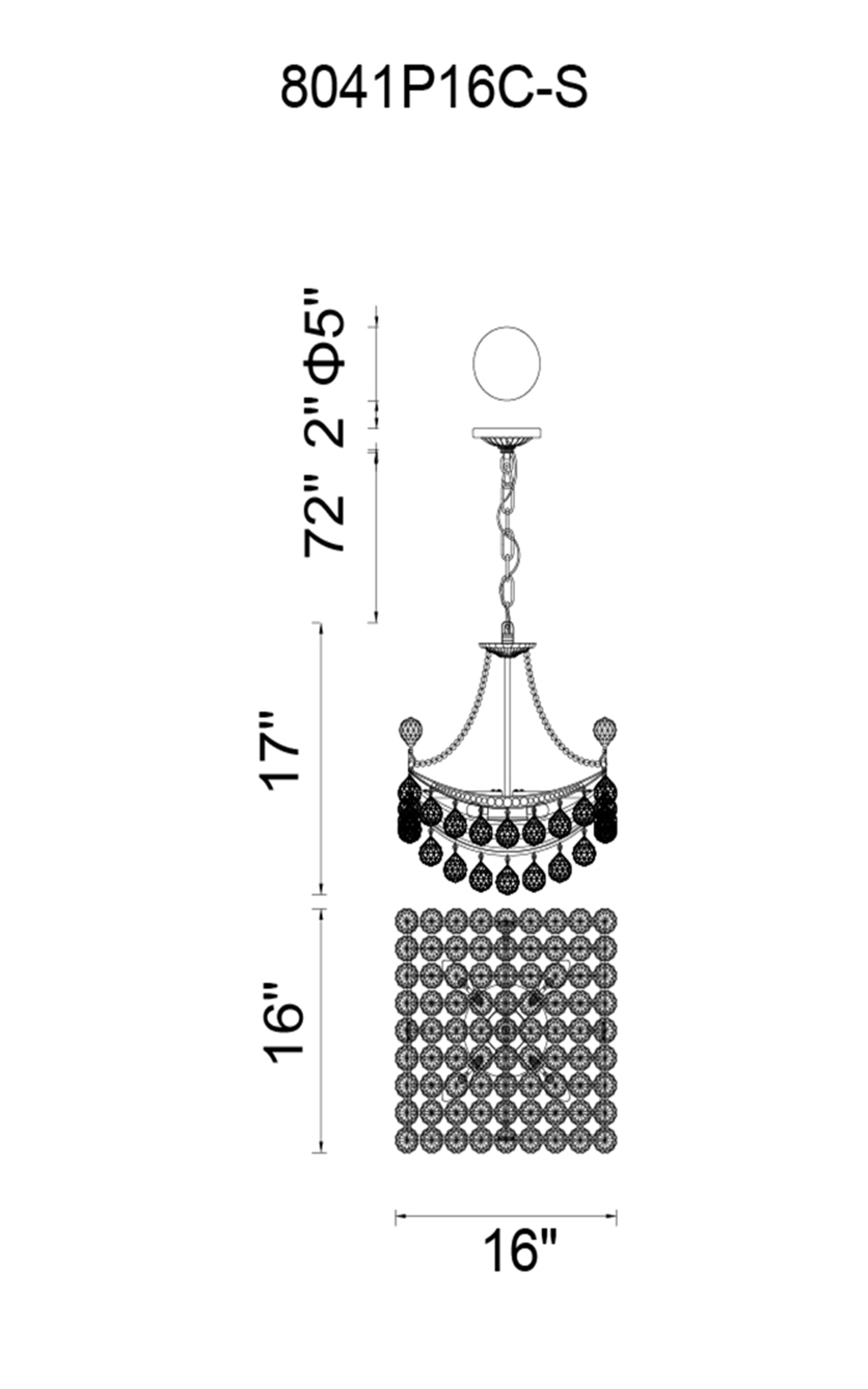 CWI Lighting Jasmine 4 Light Down Chandelier With Chrome Finish Model: 8041P16C-S Line Drawing