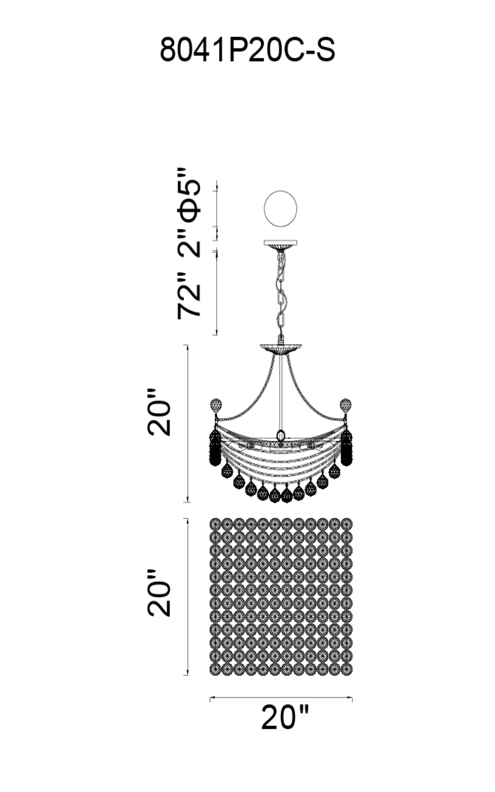 CWI Lighting Jasmine 8 Light Down Chandelier With Chrome Finish Model: 8041P20C-S Line Drawing