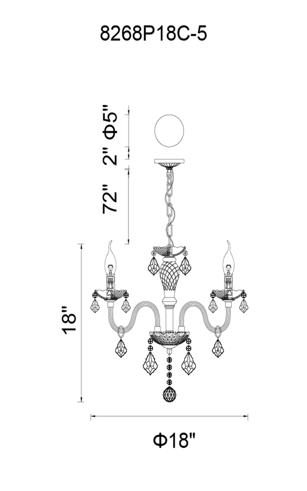 CWI Lighting Princeton 5 Light Up Chandelier With Chrome Finish Model: 8268P18C-5 (PINK) Line Drawing