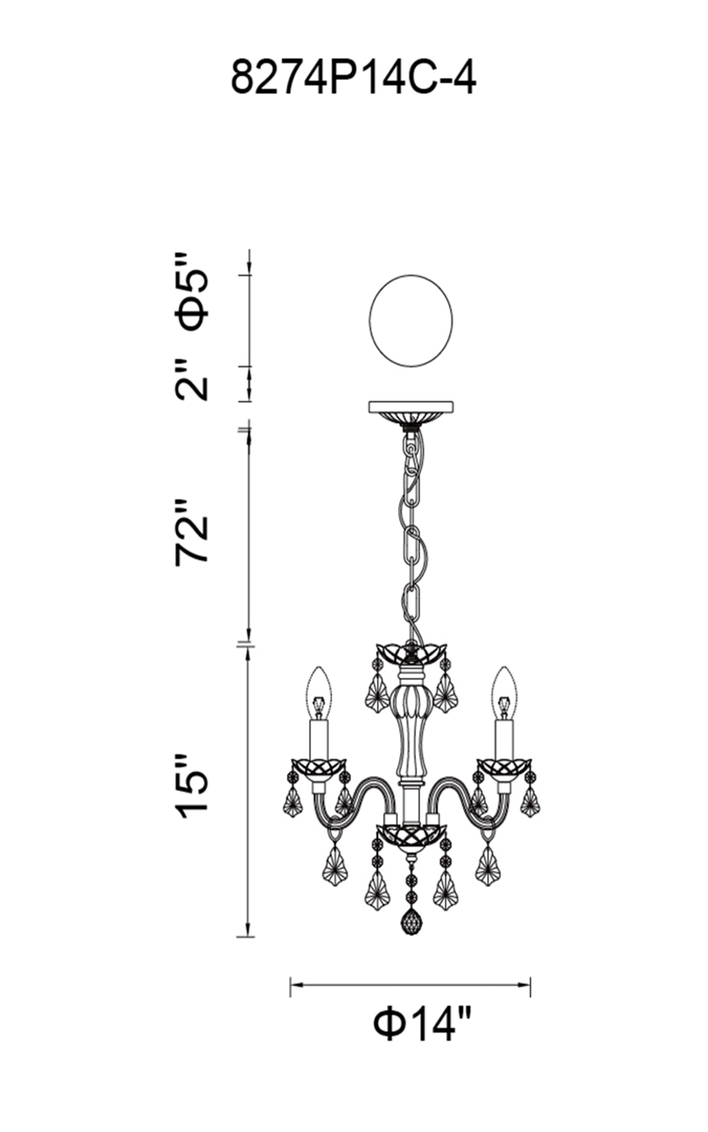 CWI Lighting Princeton 4 Light Up Chandelier With Chrome Finish Model: 8274P14C-4 Line Drawing