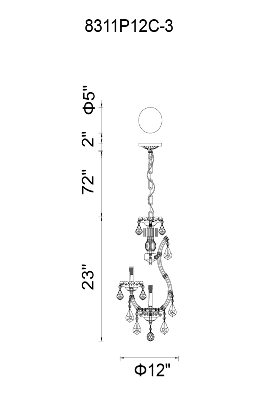 CWI Lighting Maria Theresa 4 Light Up Mini Chandelier With Chrome Finish Model: 8311P12C-3 Line Drawing