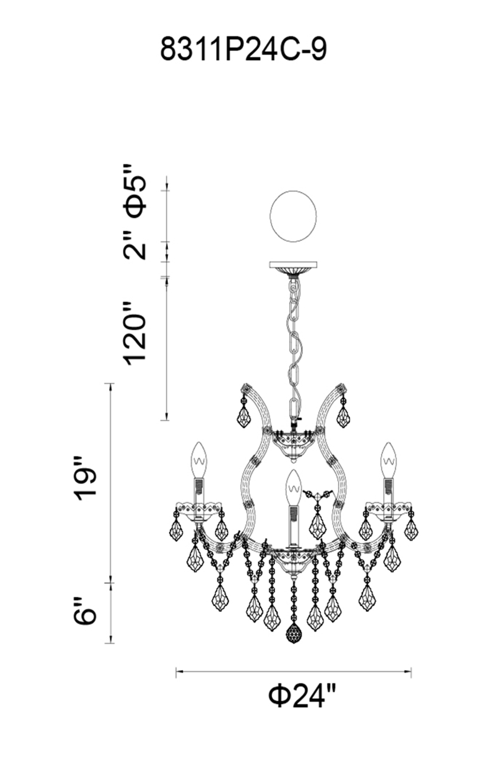 CWI Lighting Maria Theresa 9 Light Up Chandelier With Chrome Finish Model: 8311P24C-9 (CLEAR) Line Drawing