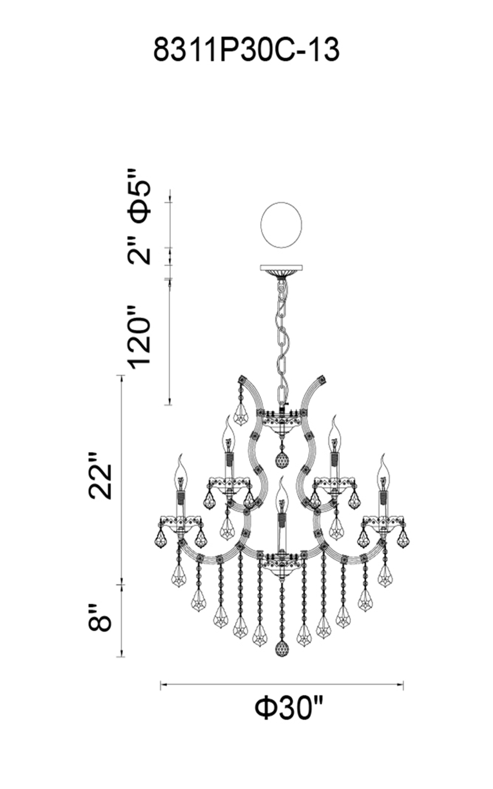 CWI Lighting Maria Theresa 13 Light Up Chandelier With Chrome Finish Model: 8311P30C-13 (CLEAR) Line Drawing