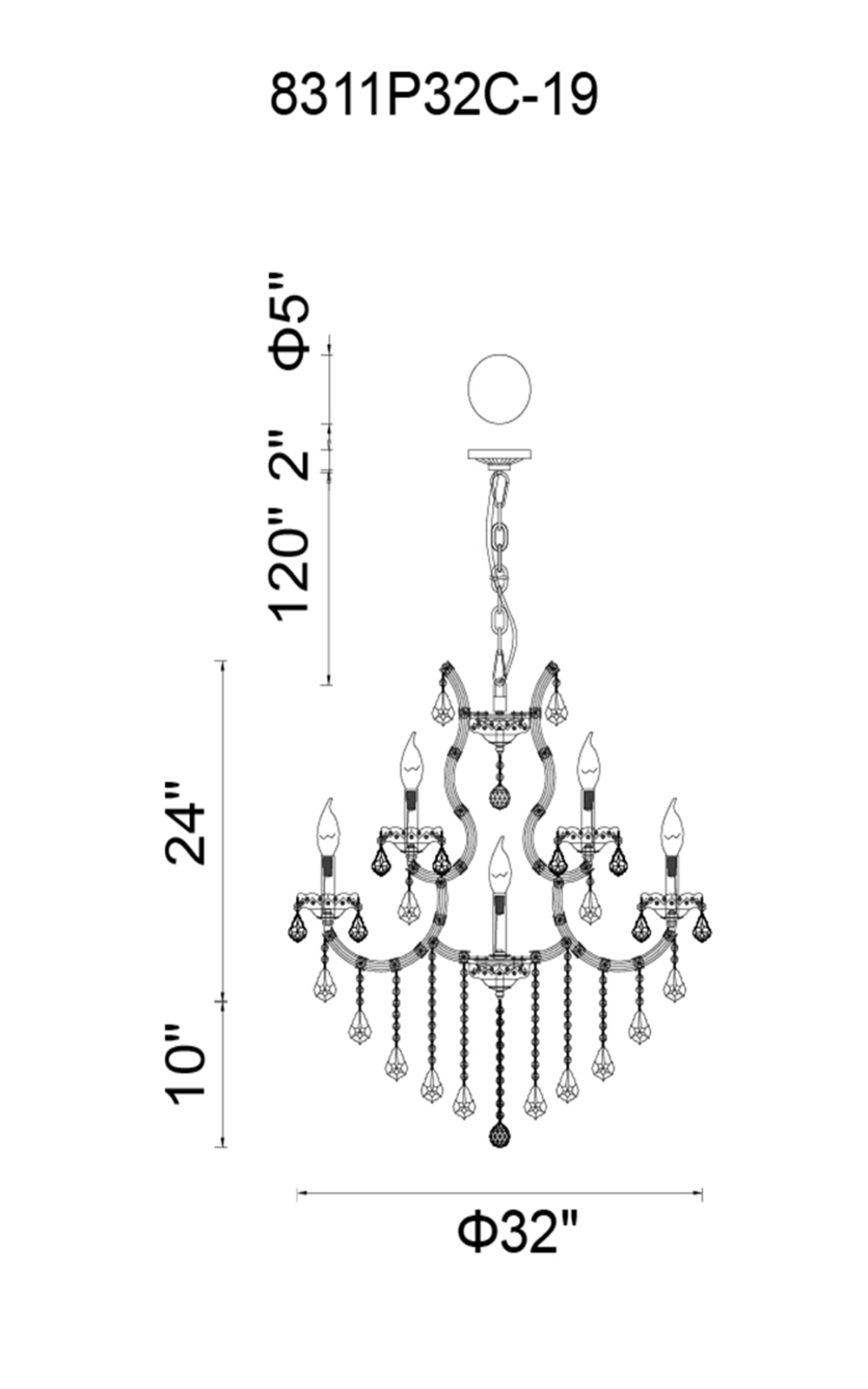 CWI Lighting Maria Theresa 19 Light Up Chandelier With Gold Finish Model: 8311P32G-19 (CLEAR) Line Drawing
