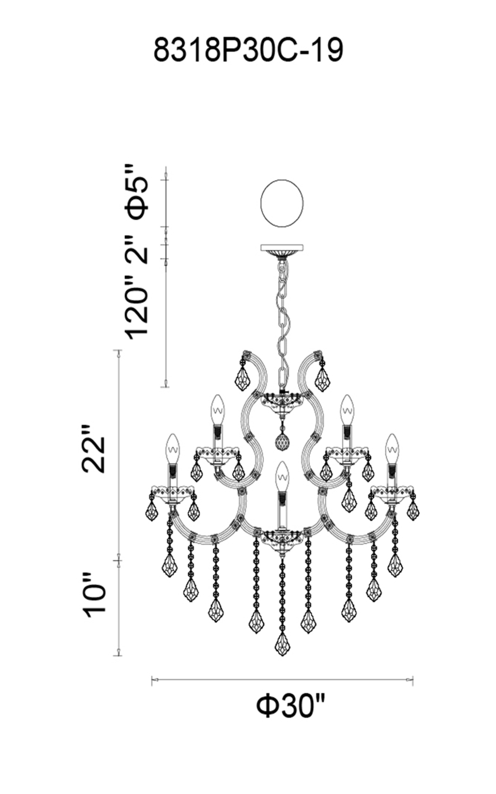 CWI Lighting Maria Theresa 19 Light Up Chandelier With Chrome Finish Model: 8318P30C-19 (CLEAR) Line Drawing