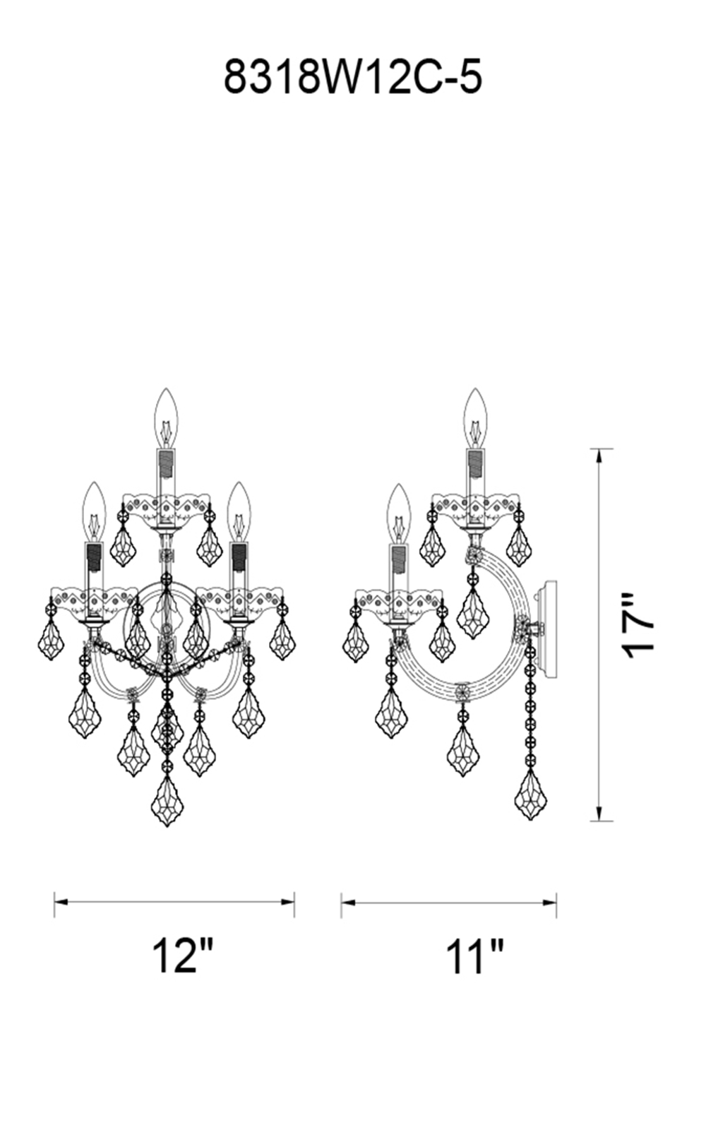 CWI Lighting Maria Theresa 5 Light Wall Sconce With Chrome Finish Model: 8318W12C-5 (CLEAR) Line Drawing