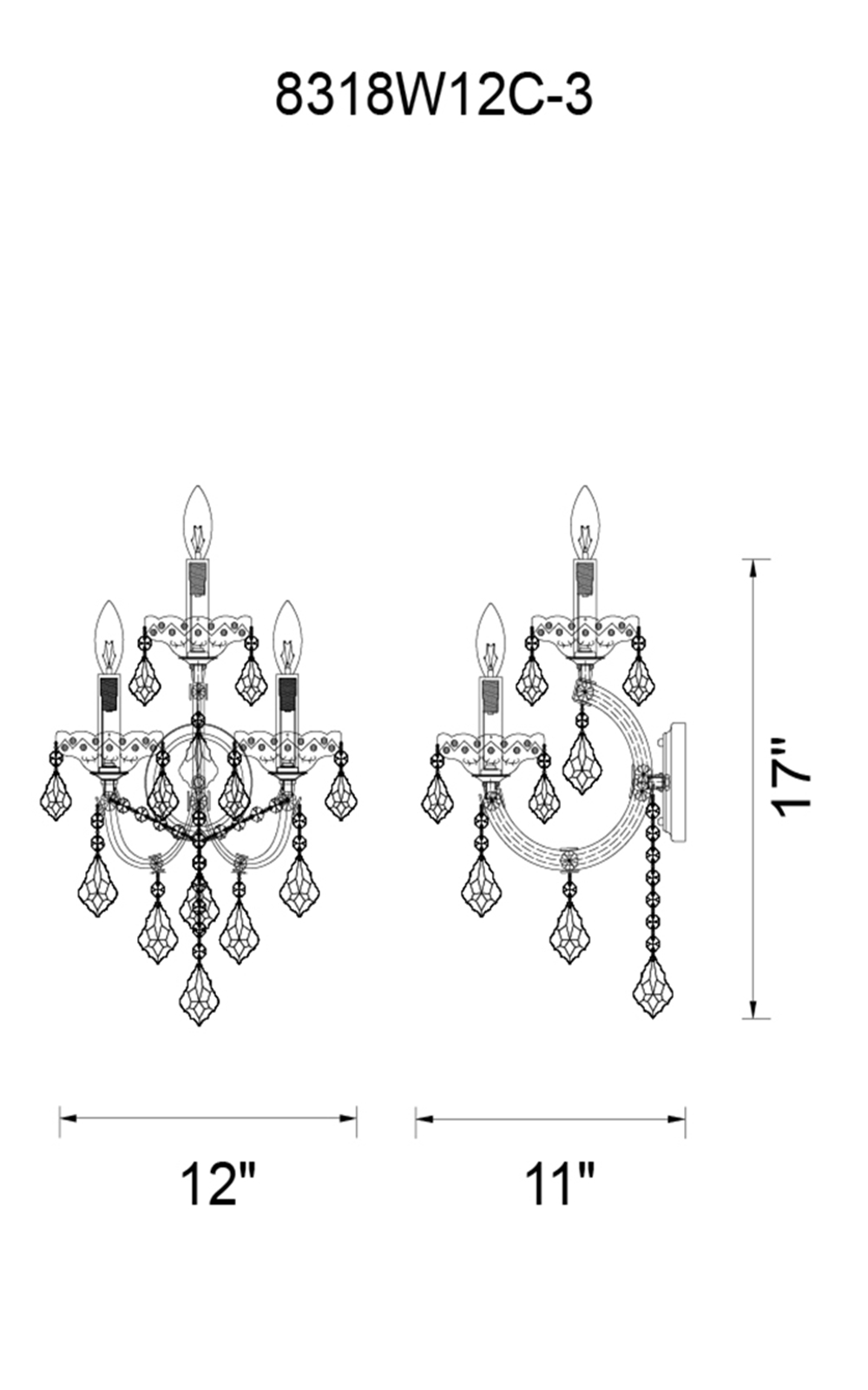 CWI Lighting Maria Theresa 3 Light Wall Sconce With Gold Finish Model: 8318W12G-3 Line Drawing