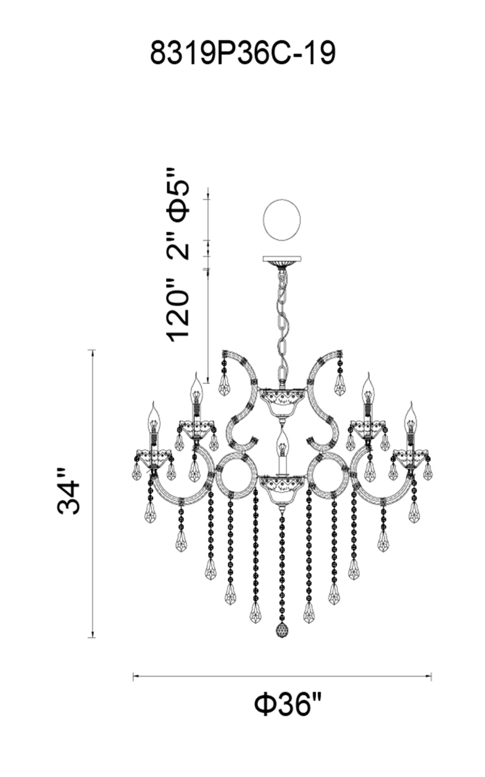 CWI Lighting Maria Theresa 19 Light Up Chandelier With Chrome Finish Model: 8319P36C-19 (CLEAR) Line Drawing