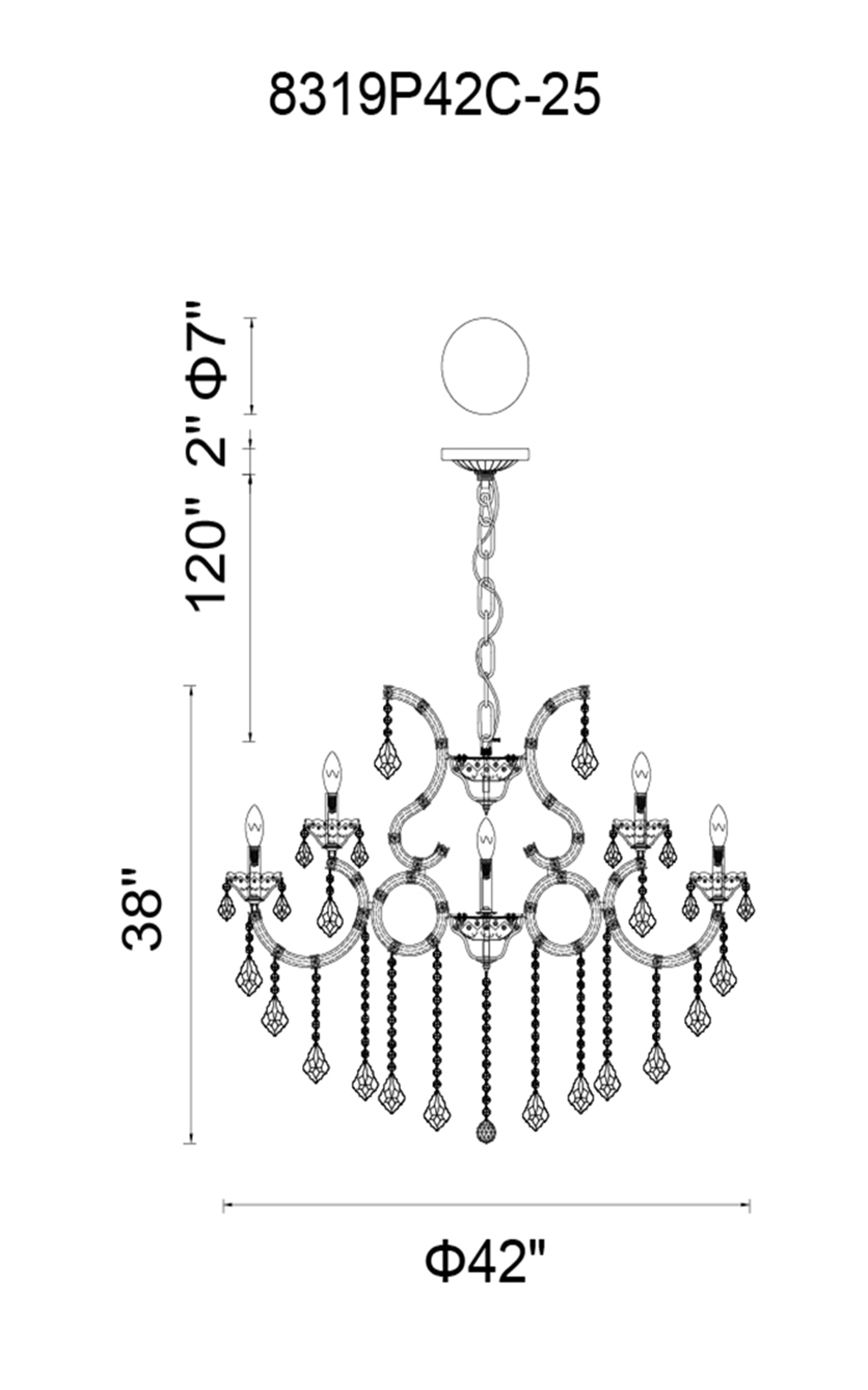 CWI Lighting Maria Theresa 25 Light Up Chandelier With Chrome Finish Model: 8319P42C-25 (CLEAR) Line Drawing