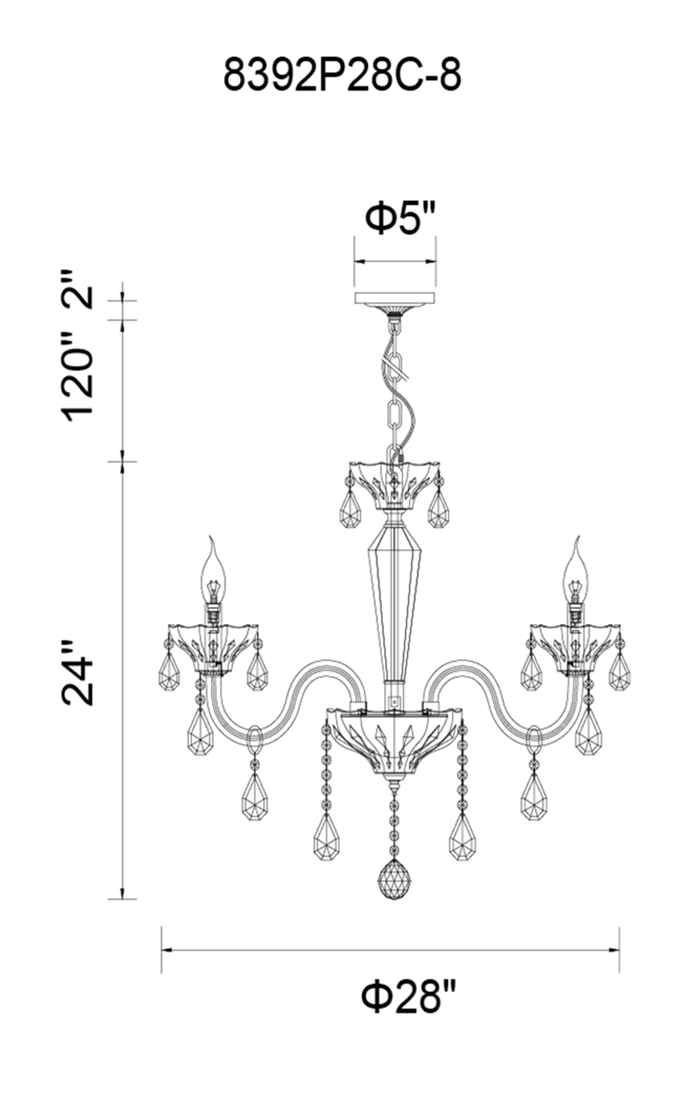 CWI Lighting Harvard 8 Light Up Chandelier With Chrome Finish Model: 8392P28C-8 Line Drawing