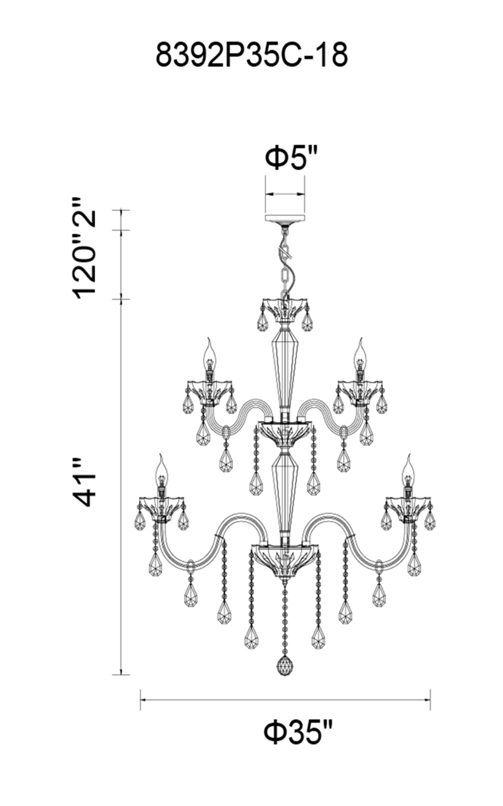 CWI Lighting Harvard 18 Light Up Chandelier With Chrome Finish Model: 8392P35C-18 Line Drawing