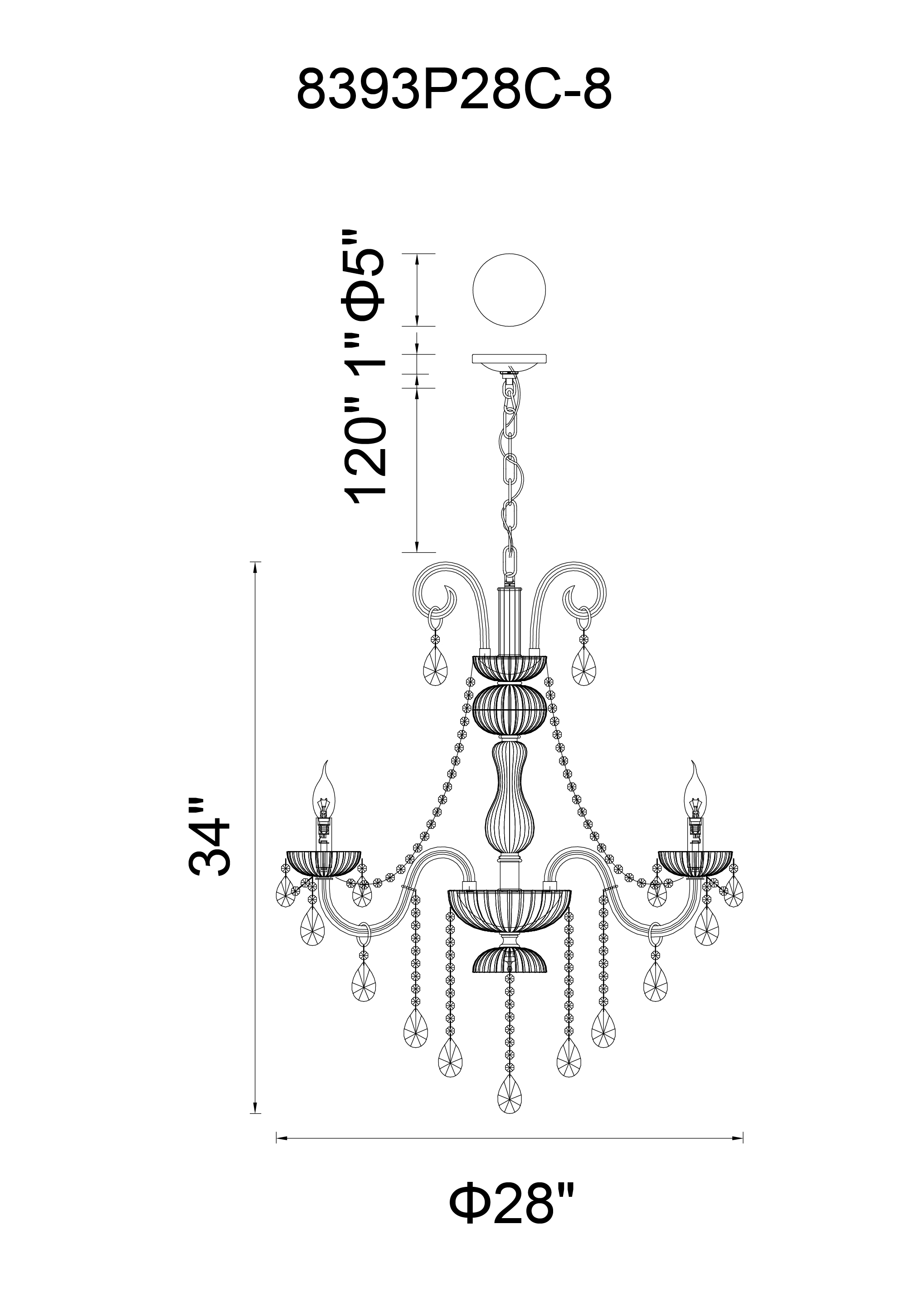 CWI Lighting Casper 8 Light Up Chandelier With Chrome Finish Model: 8393P28C-8 (COGNAC) Line Drawing