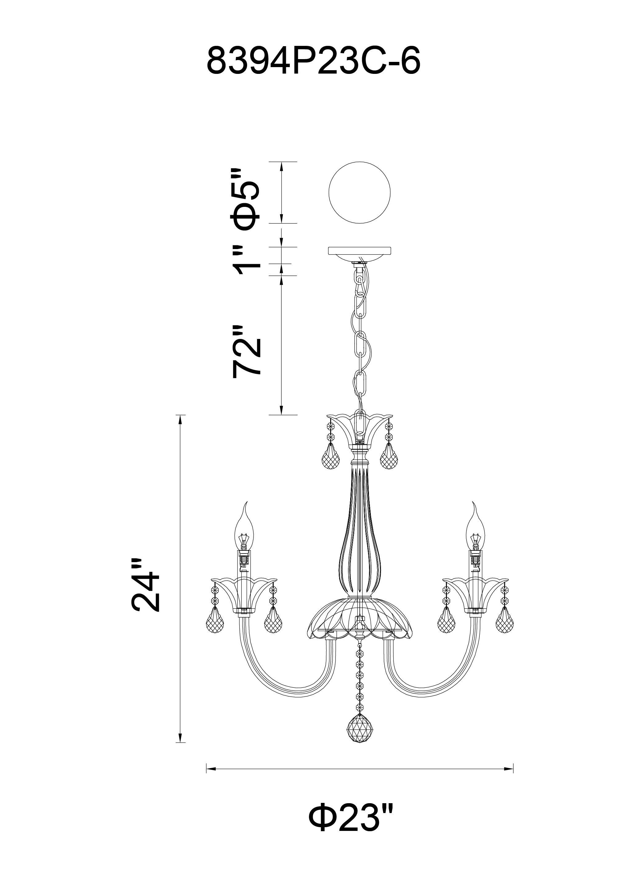 CWI Lighting Melanie 6 Light Up Chandelier With Chrome Finish Model: 8394P23C-6 Line Drawing