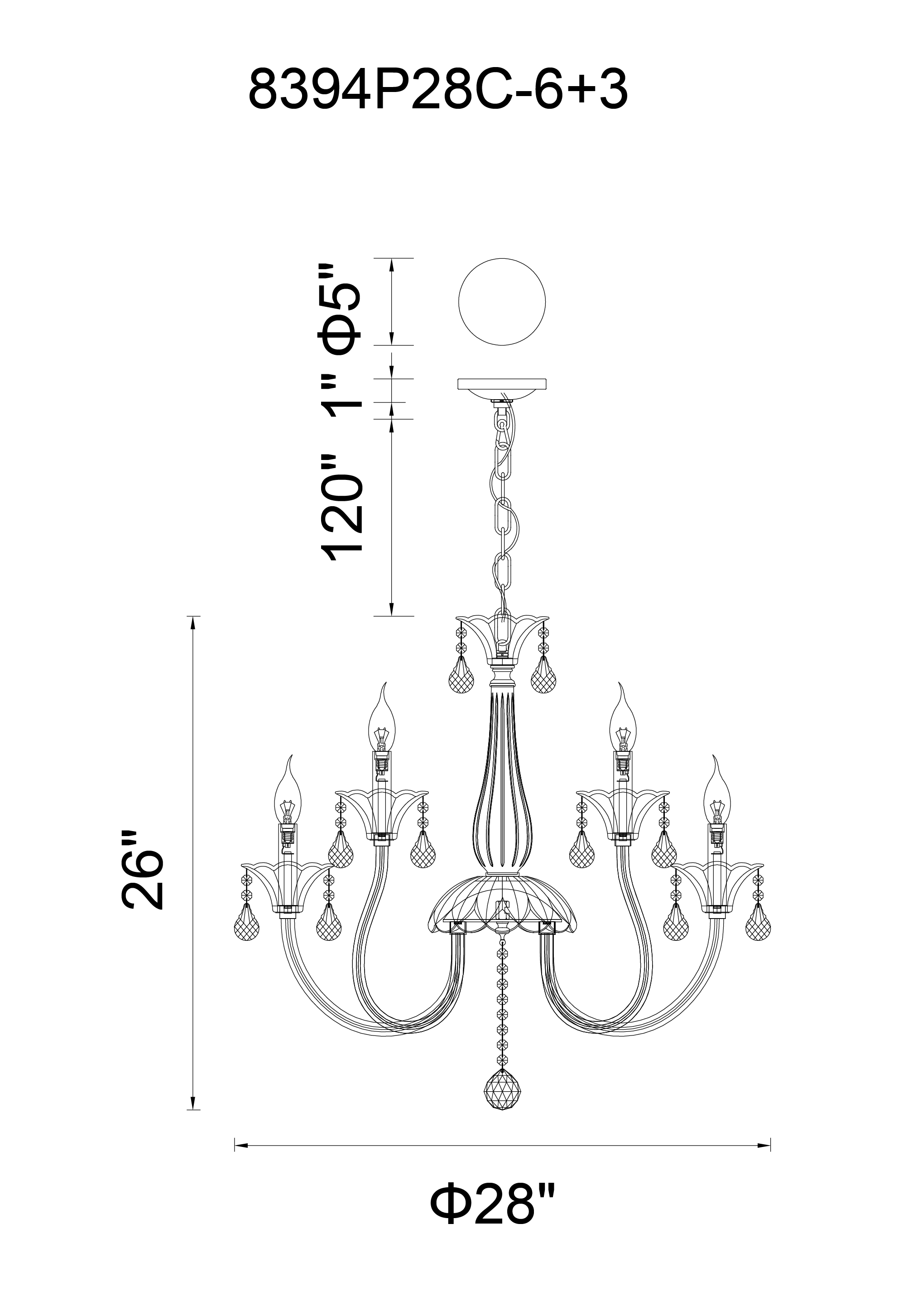 CWI Lighting Melanie 9 Light Up Chandelier With Chrome Finish Model: 8394P28C-9 Line Drawing