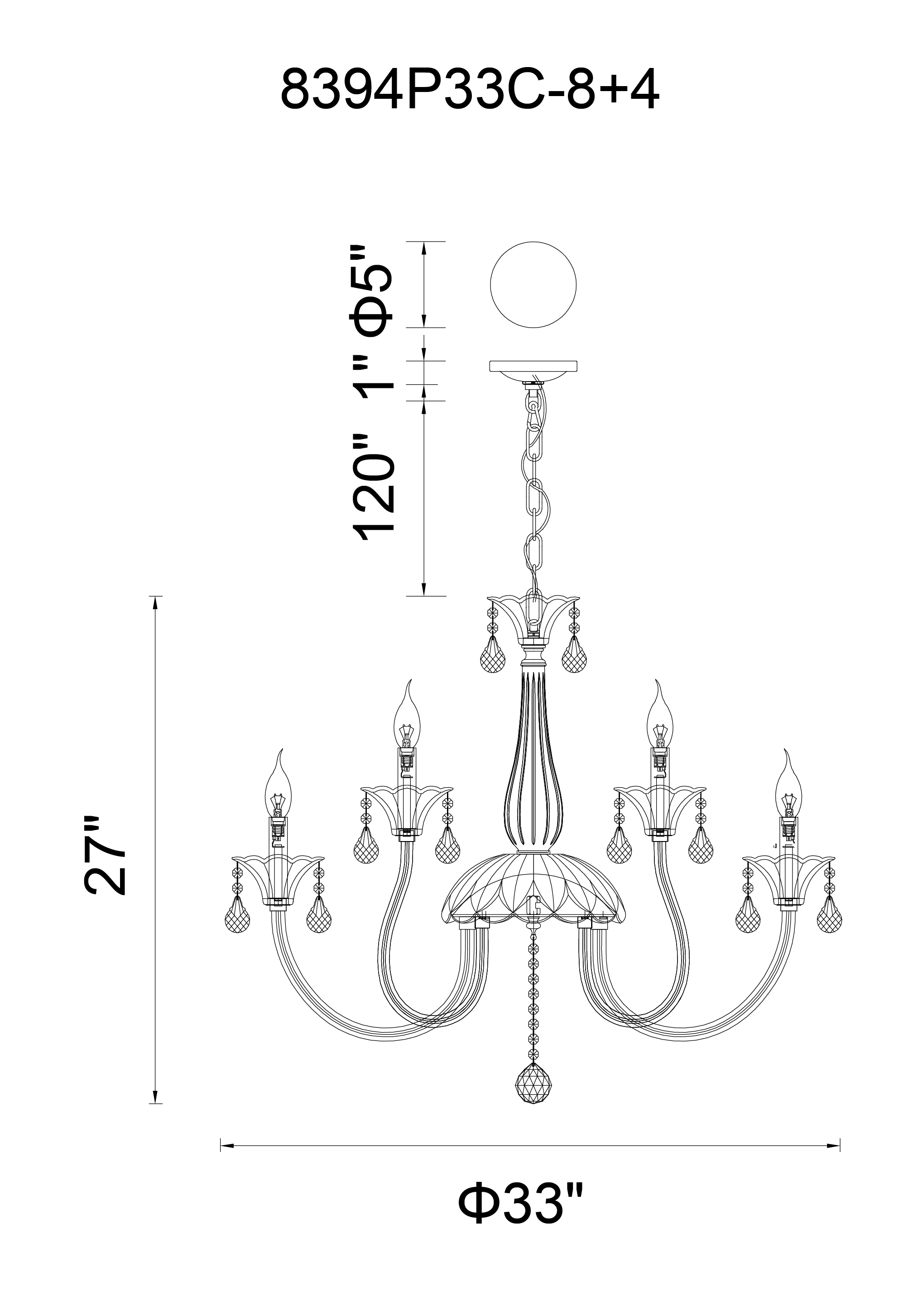 CWI Lighting Melanie 12 Light Up Chandelier With Chrome Finish Model: 8394P33C-12 Line Drawing