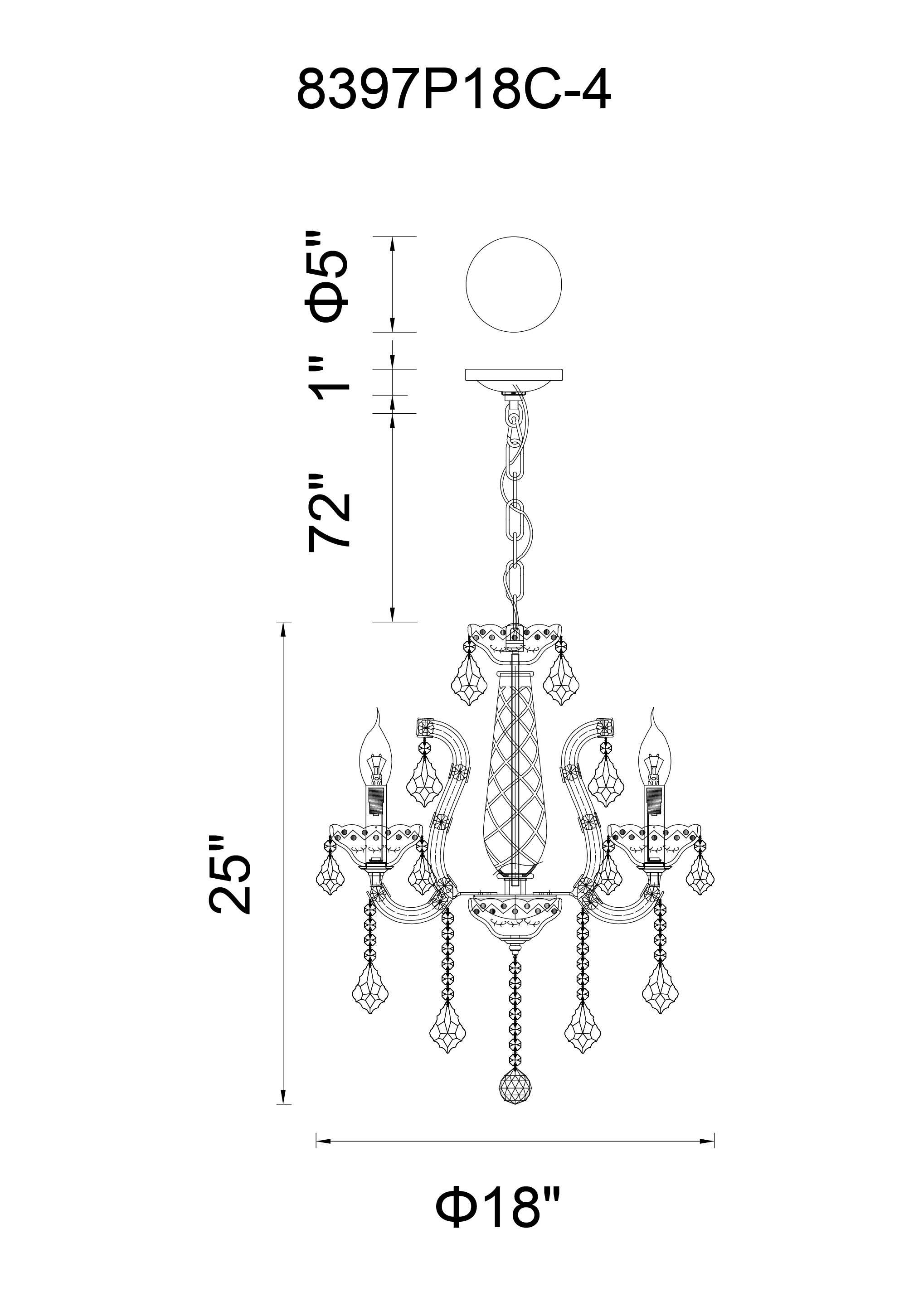 CWI Lighting Maria Theresa 4 Light Up Chandelier With Chrome Finish Model: 8397P18C-4(CLEAR) Line Drawing