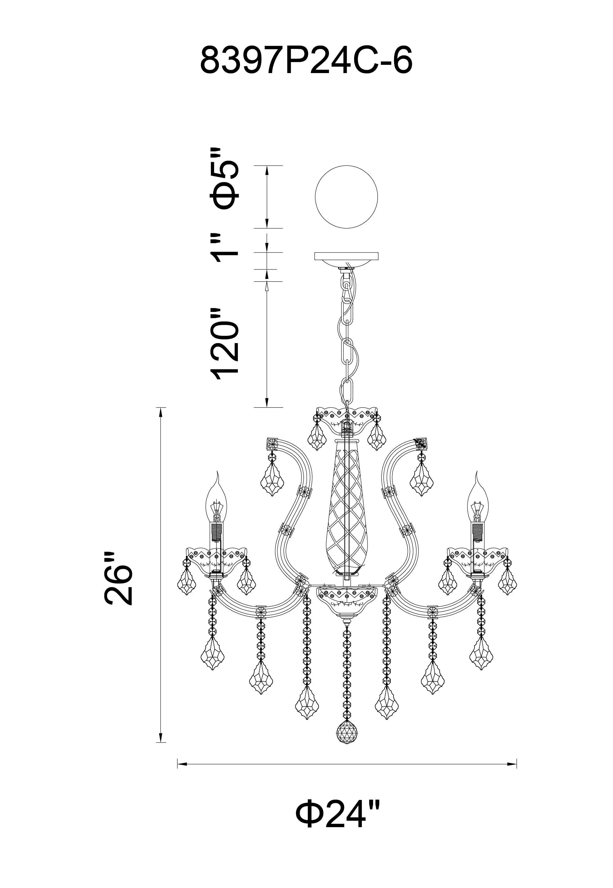 CWI Lighting Maria Theresa 6 Light Up Chandelier With Chrome Finish Model: 8397P24C-6(CLEAR) Line Drawing