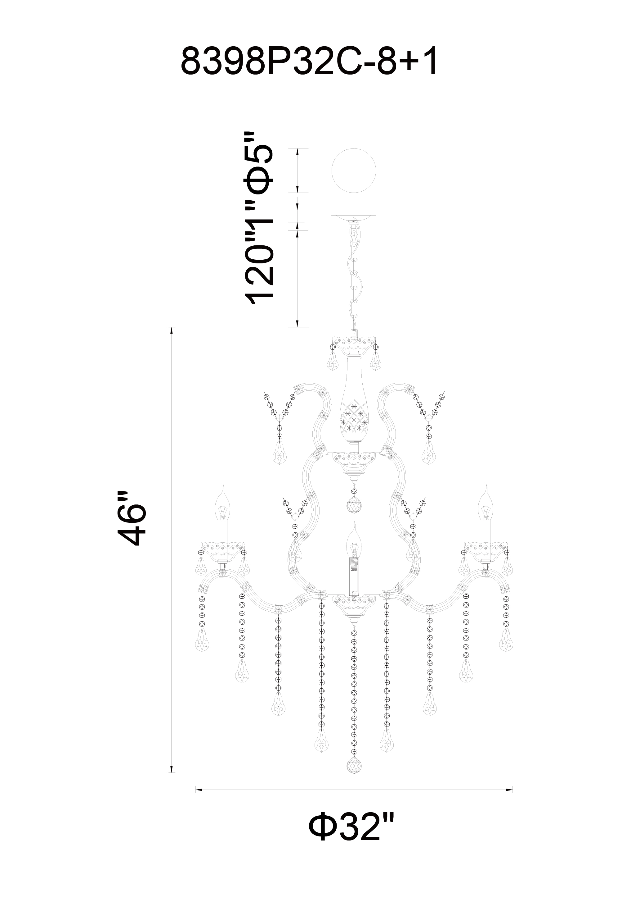 CWI Lighting Abby 9 Light Up Chandelier With Chrome Finish Model: 8398P32C-9 (CLEAR) Line Drawing