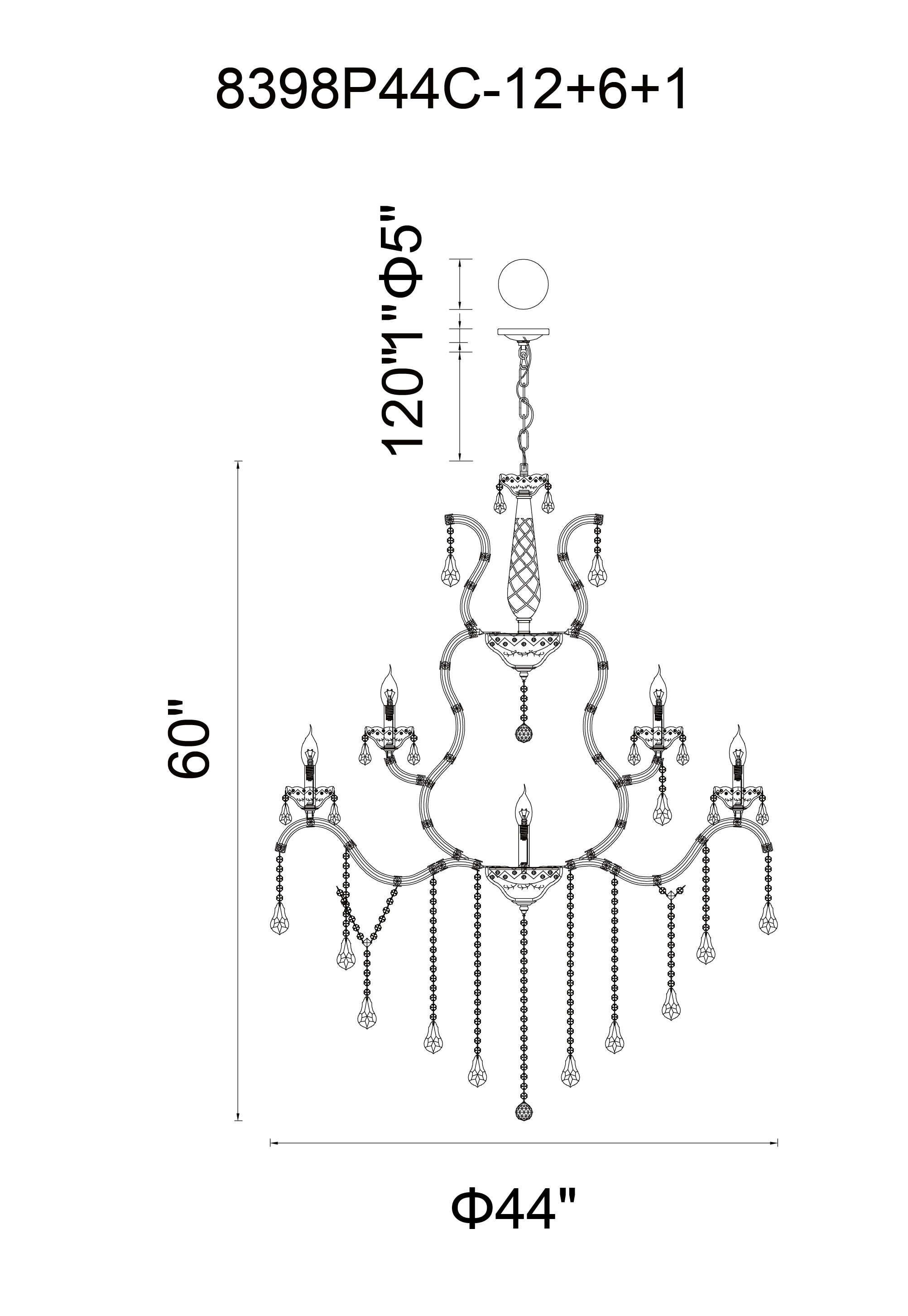 CWI Lighting Abby 19 Light Up Chandelier With Chrome Finish Model: 8398P44C-19 (CLEAR) Line Drawing