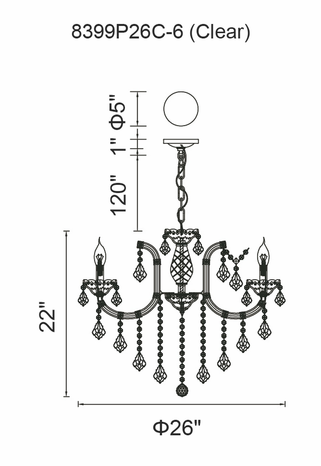 CWI Lighting Riley 6 Light Up Chandelier With Chrome Finish Model: 8399P26C-6 (CLEAR) Line Drawing