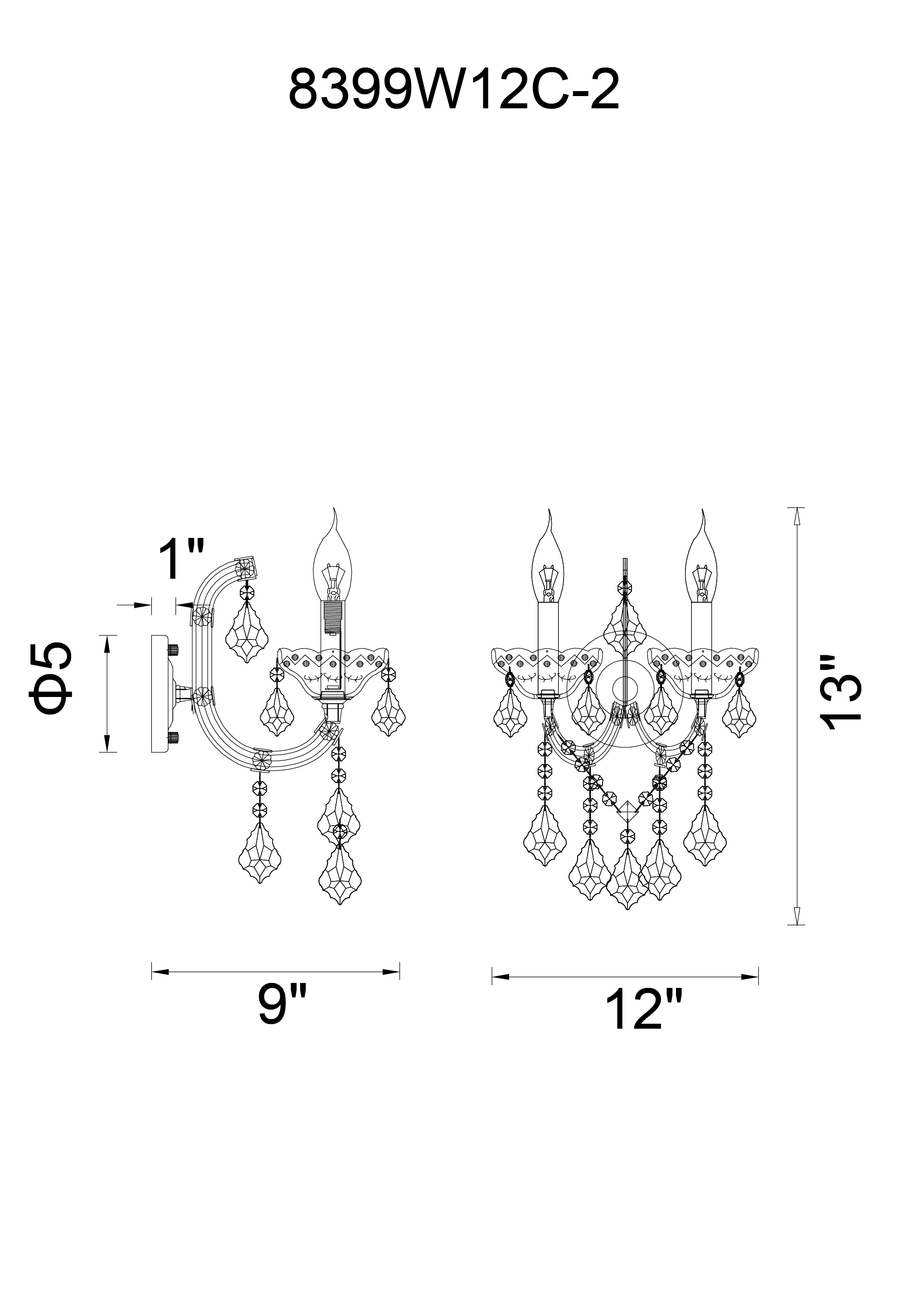 CWI Lighting Riley 2 Light Wall Sconce With Chrome Finish Model: 8399W12C-2 (CLEAR) Line Drawing