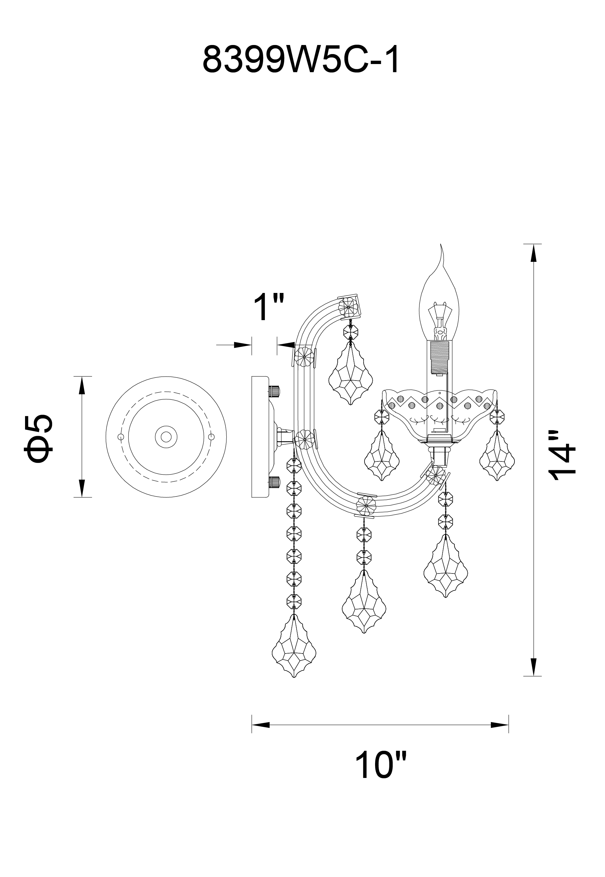 CWI Lighting Riley 1 Light Wall Sconce With Chrome Finish Model: 8399W5C-1 (CLEAR) Line Drawing