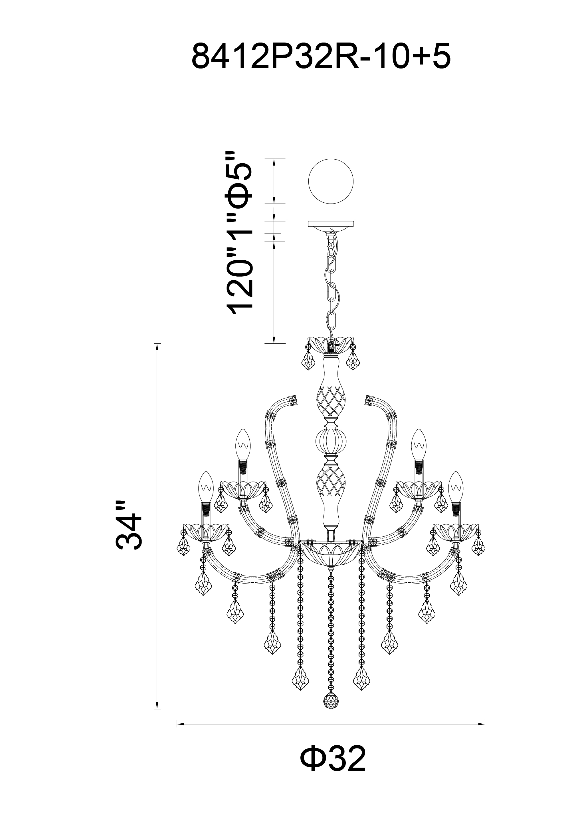 CWI Lighting Cher 15 Light Up Chandelier With Chrome Finish Model: 8412P32C-15 (CLEAR) Line Drawing