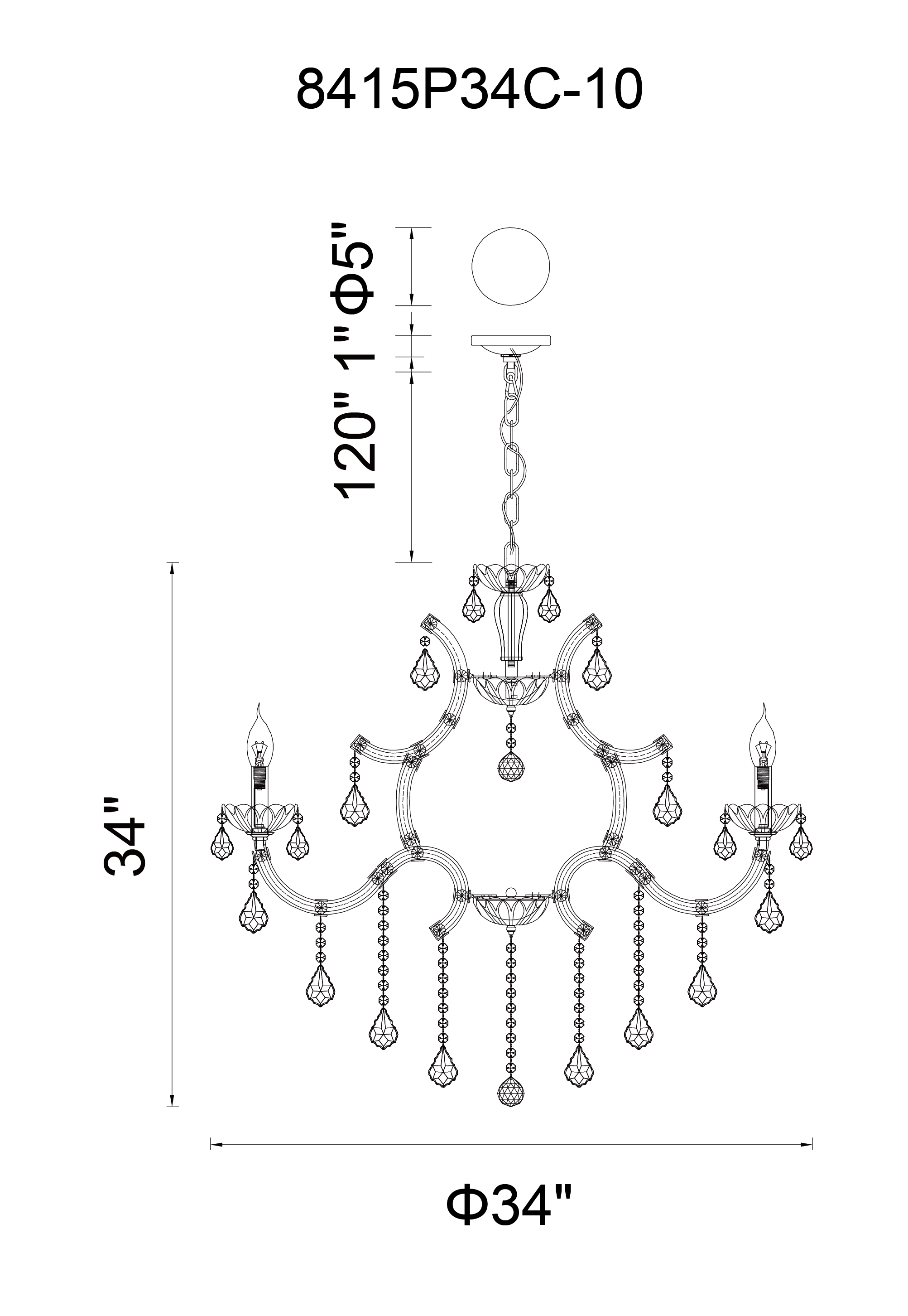 CWI Lighting Dianna 10 Light Up Chandelier With Chrome Finish Model: 8415P34C-10 (SMOKE) Line Drawing